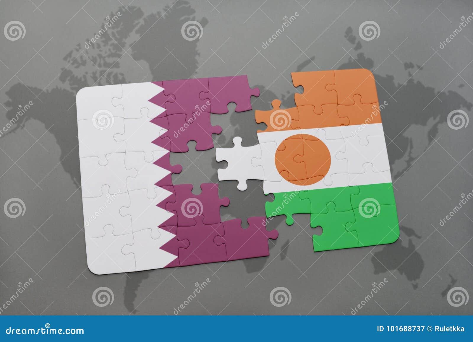 Intryguje z flaga państowowa Qatar i Niger na światowej mapy tle