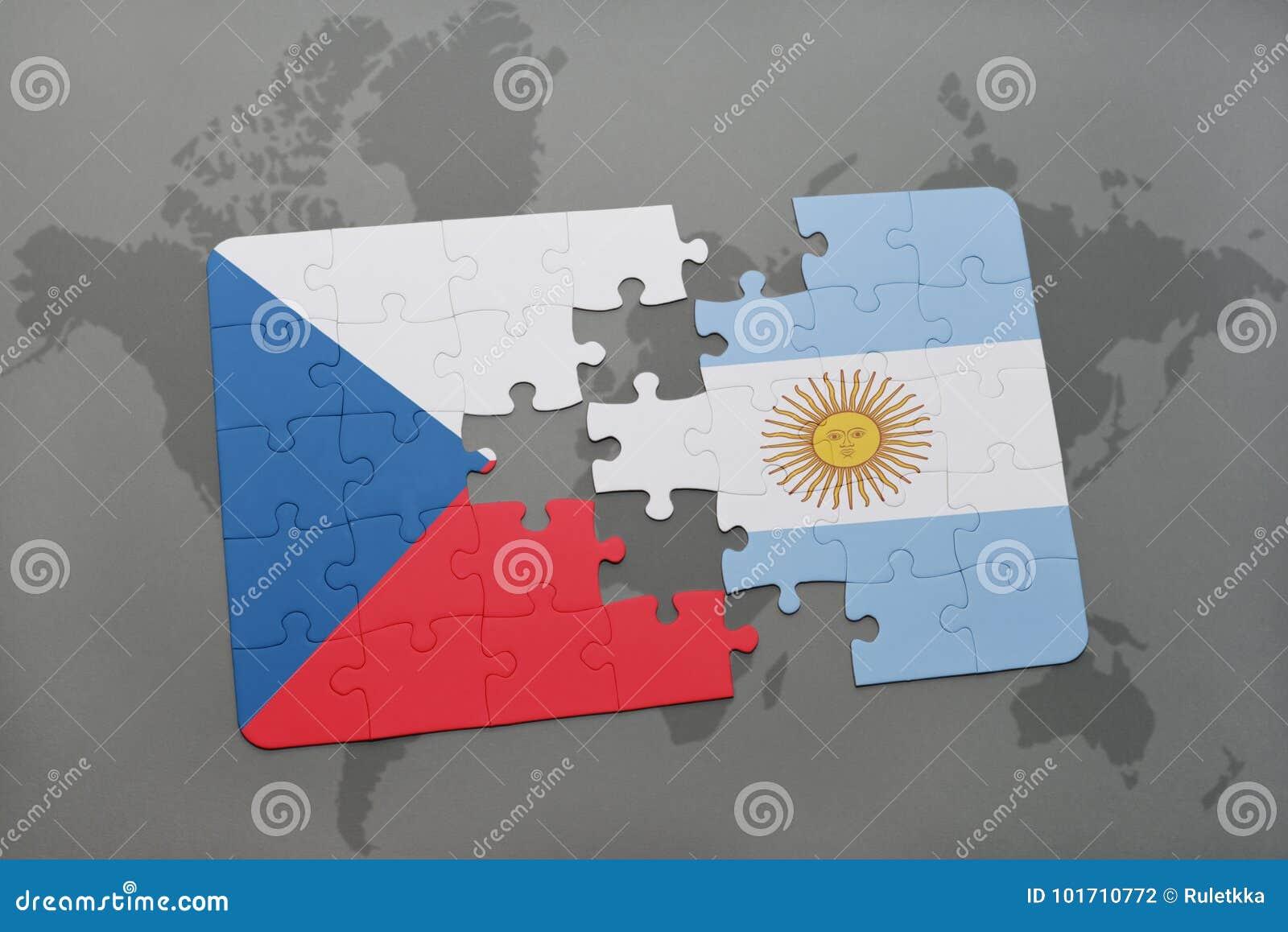 Intryguje z flaga państowowa republika czech i Argentina na światowej mapie