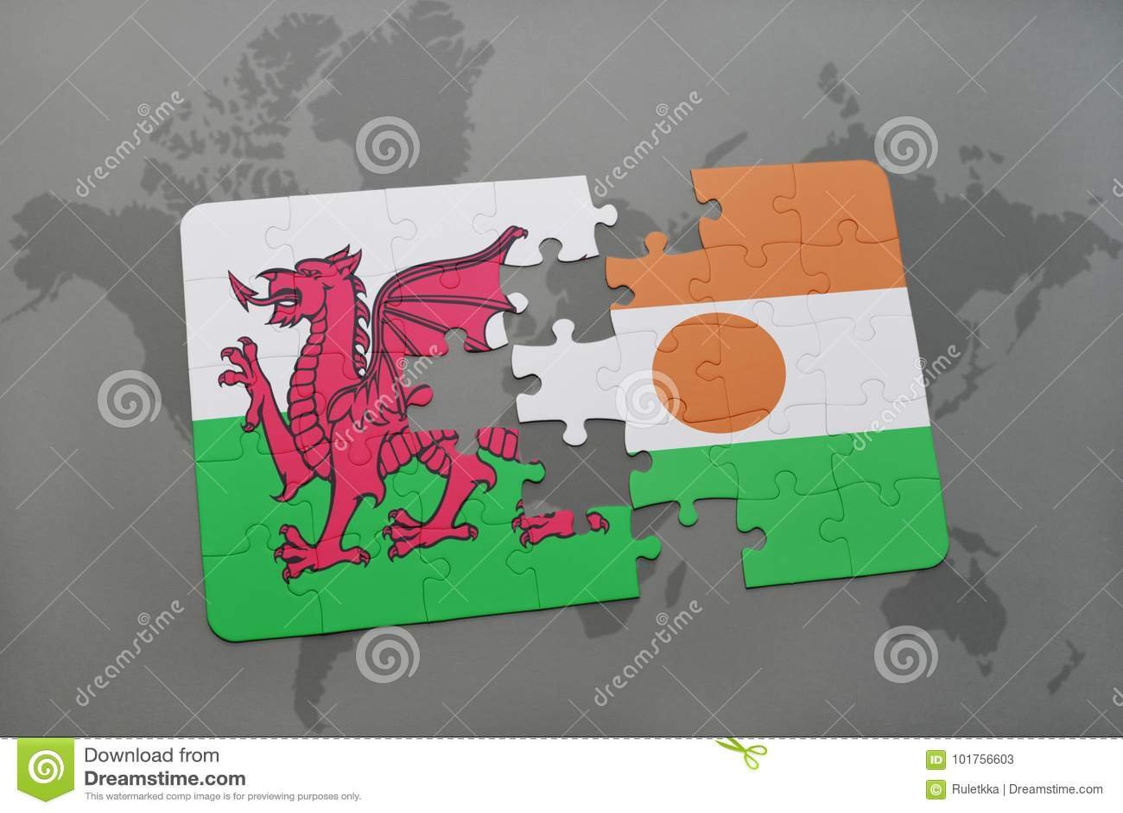 Intryguje z flaga państowowa Wales i Niger na światowej mapie