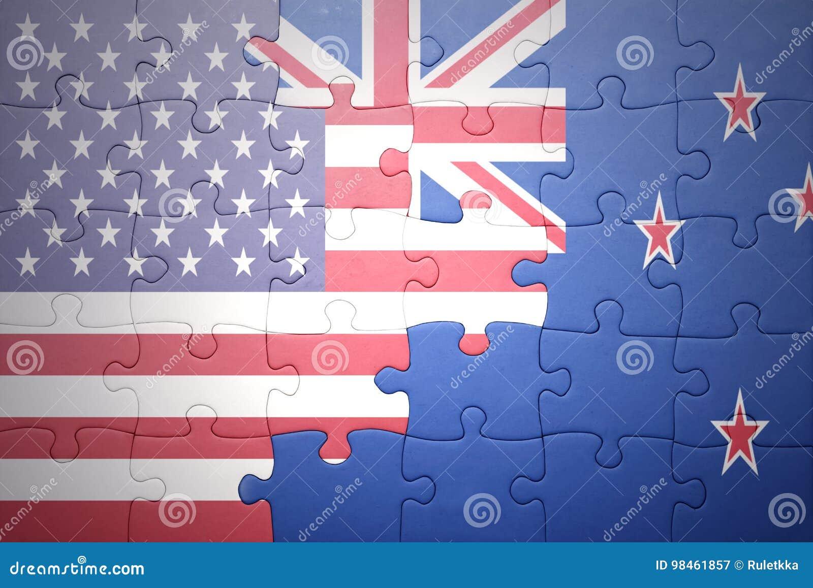 Intryguje z flaga państowowa zlani stany America i nowy Zealand