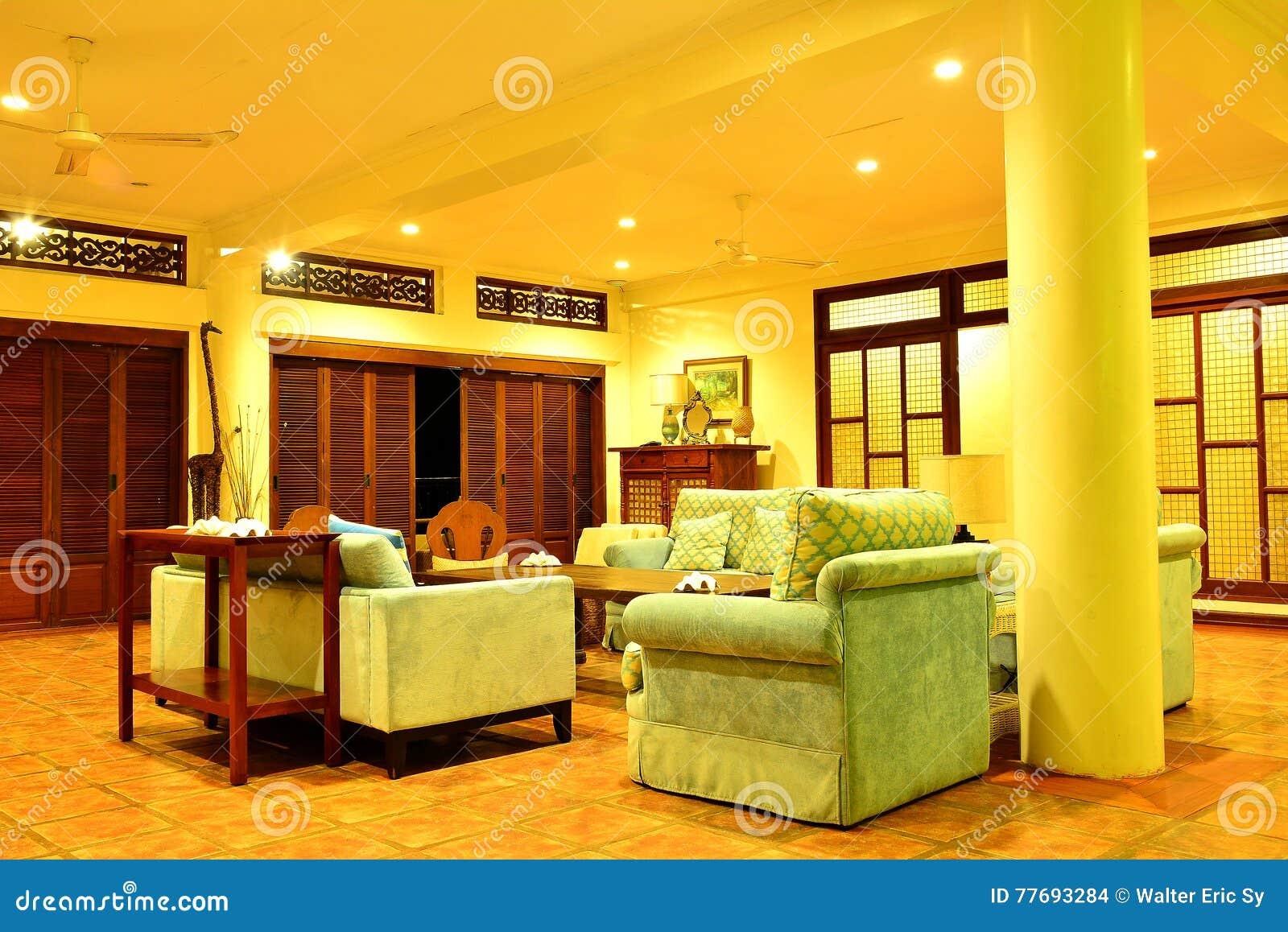 Intymnej siedziby VIP kurortu żywy pokój w Negros orientale, Filipiny