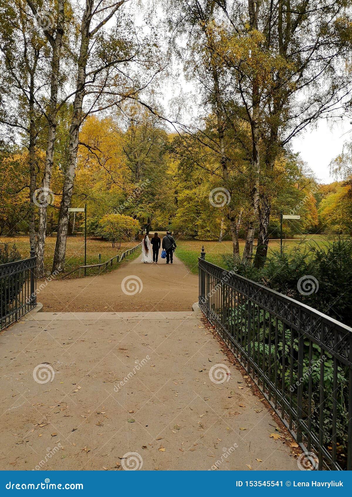Intymny intymny ślub na złotym jesień dniu w Berlin