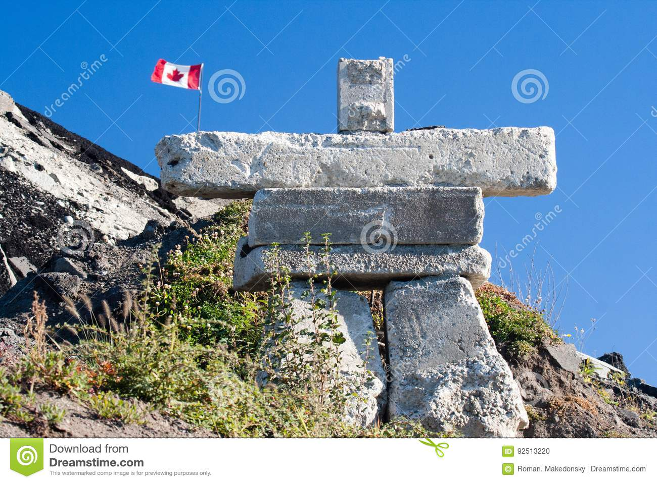 Inukshuk Is An Symbolic Rock Sculpture Originally Build By An Inuit