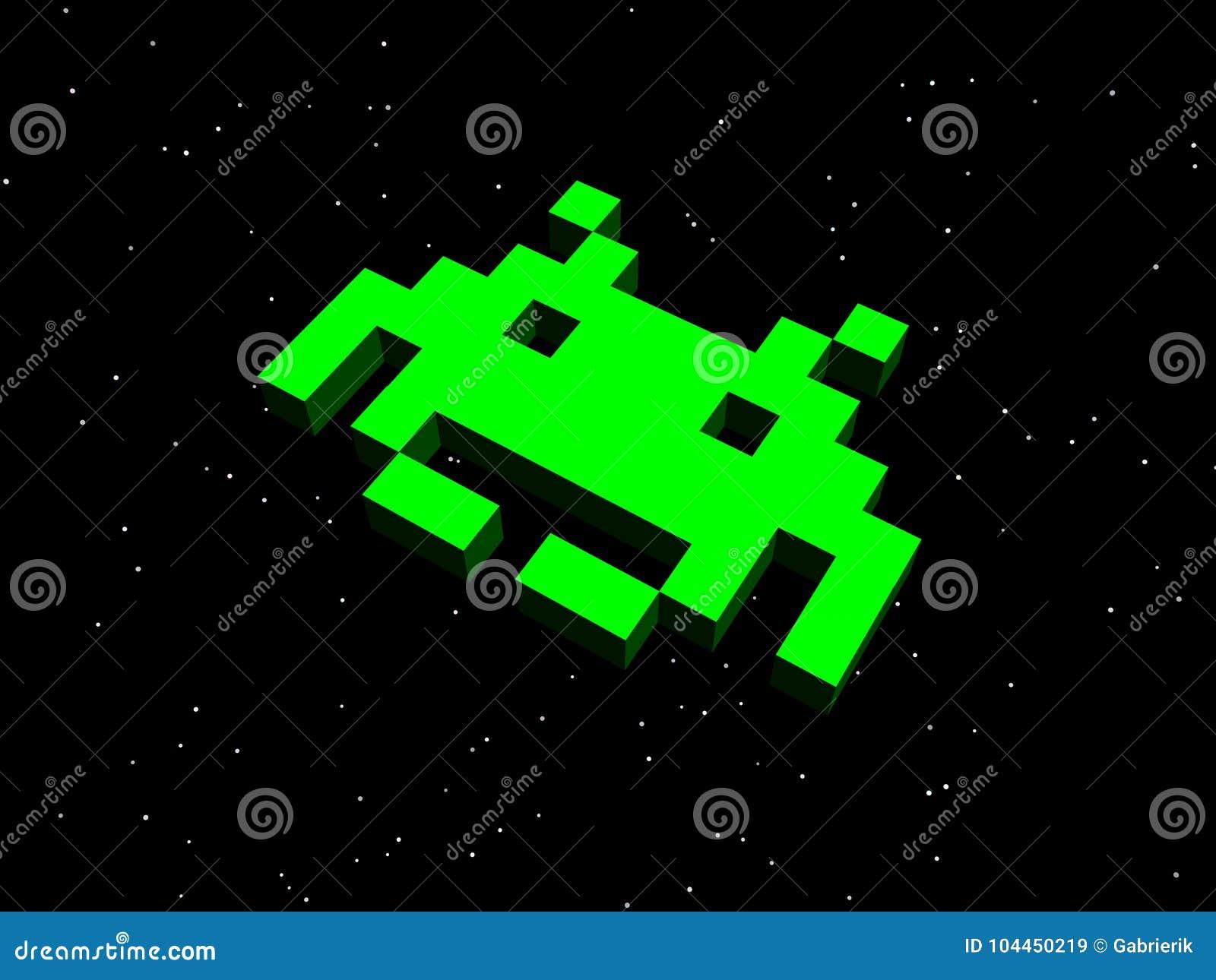 Invallers, ruimteinvallers! Groen vreemd schip