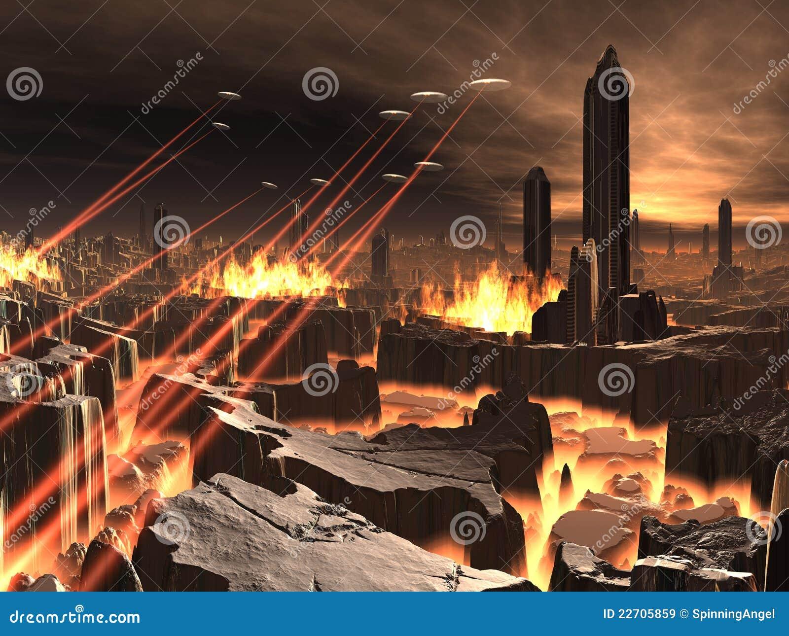 Invasión del UFO de la ciudad futurista