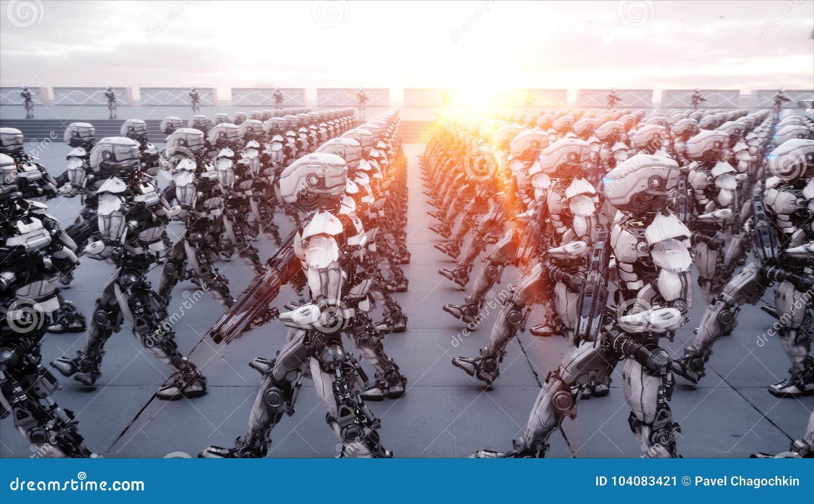 Invasion des robots militaires Concept réaliste superbe d apocalypse dramatique future rendu 3d