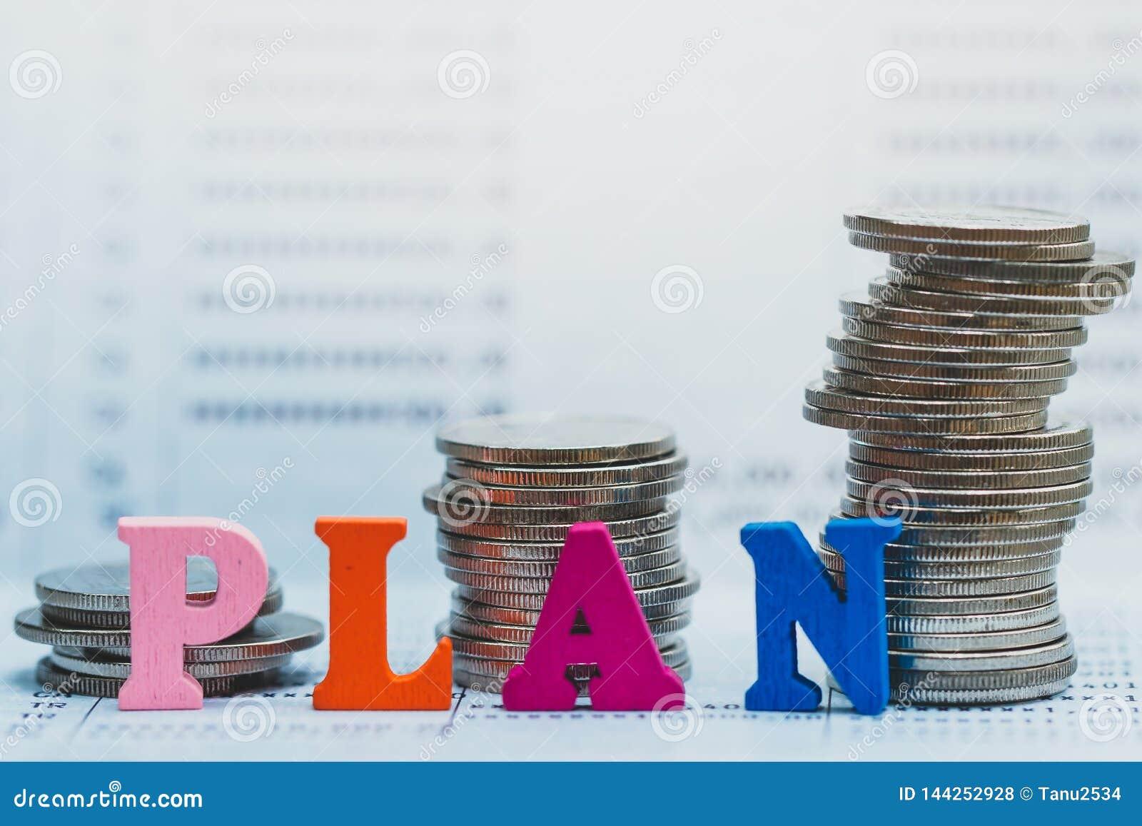 Inventa o empilhamento e blocos de madeira com o PLANO do texto na caderneta bancária do banco
