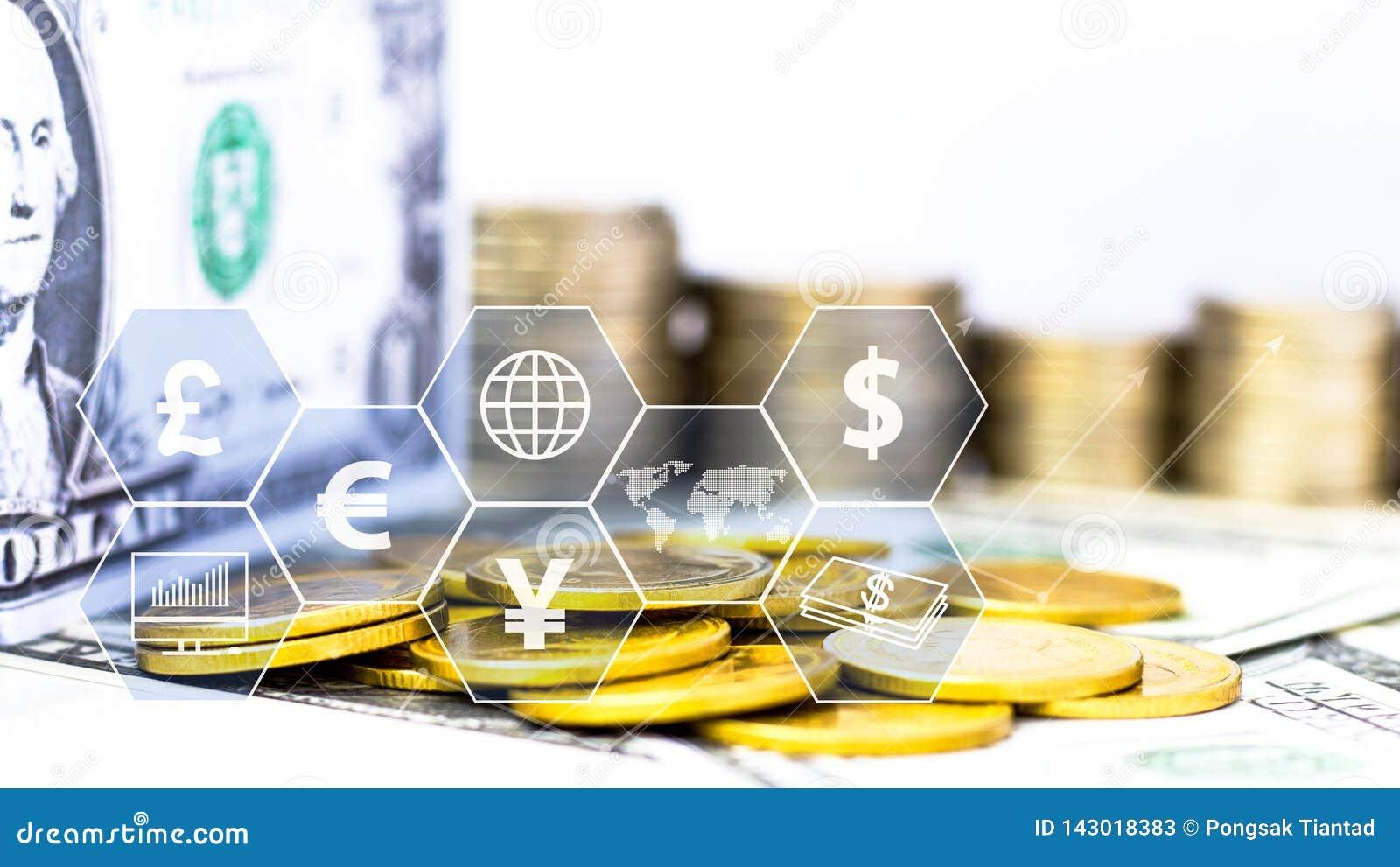 Inventa a pilha e a c?dula com o ?cone virtual na tabela O conceito do crescimento do neg?cio, financeiro ou do com?rcio mundial