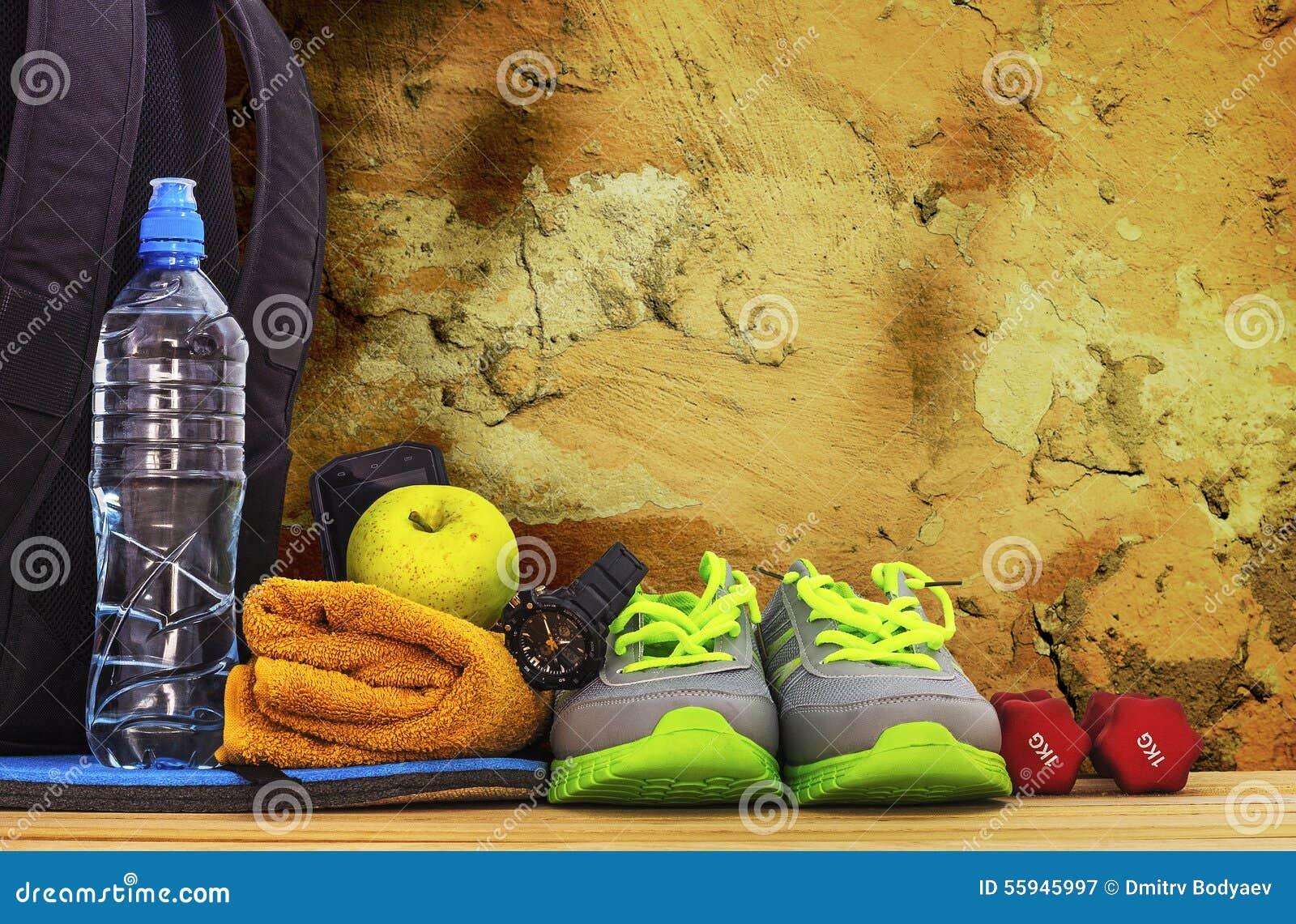 Inventaris voor sporten bij de muur