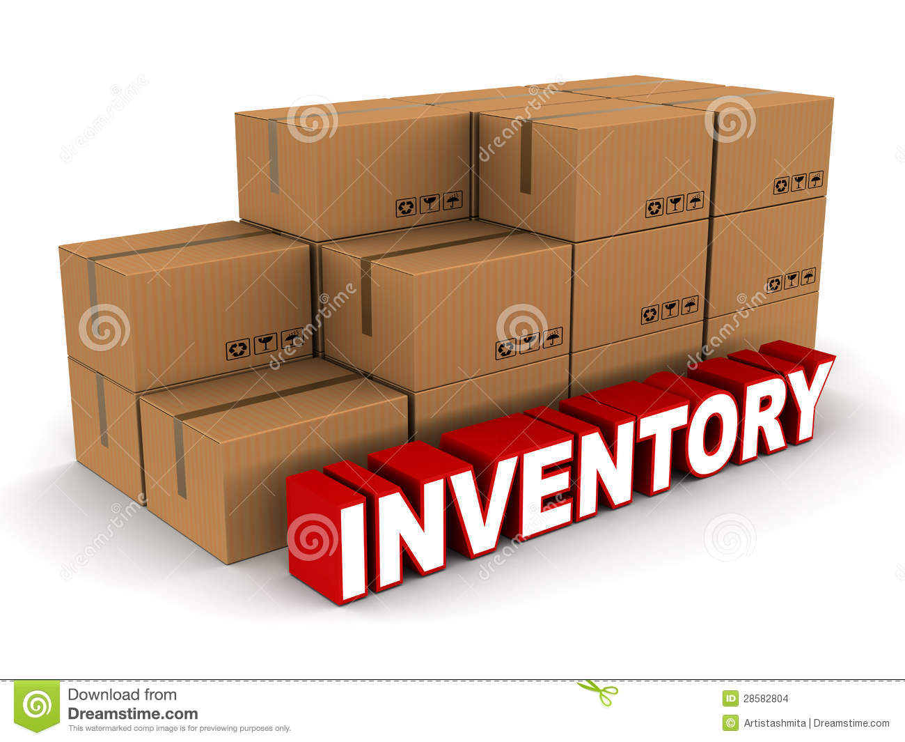 Stock and inventory concept, box cartons of cardboard, on white ...