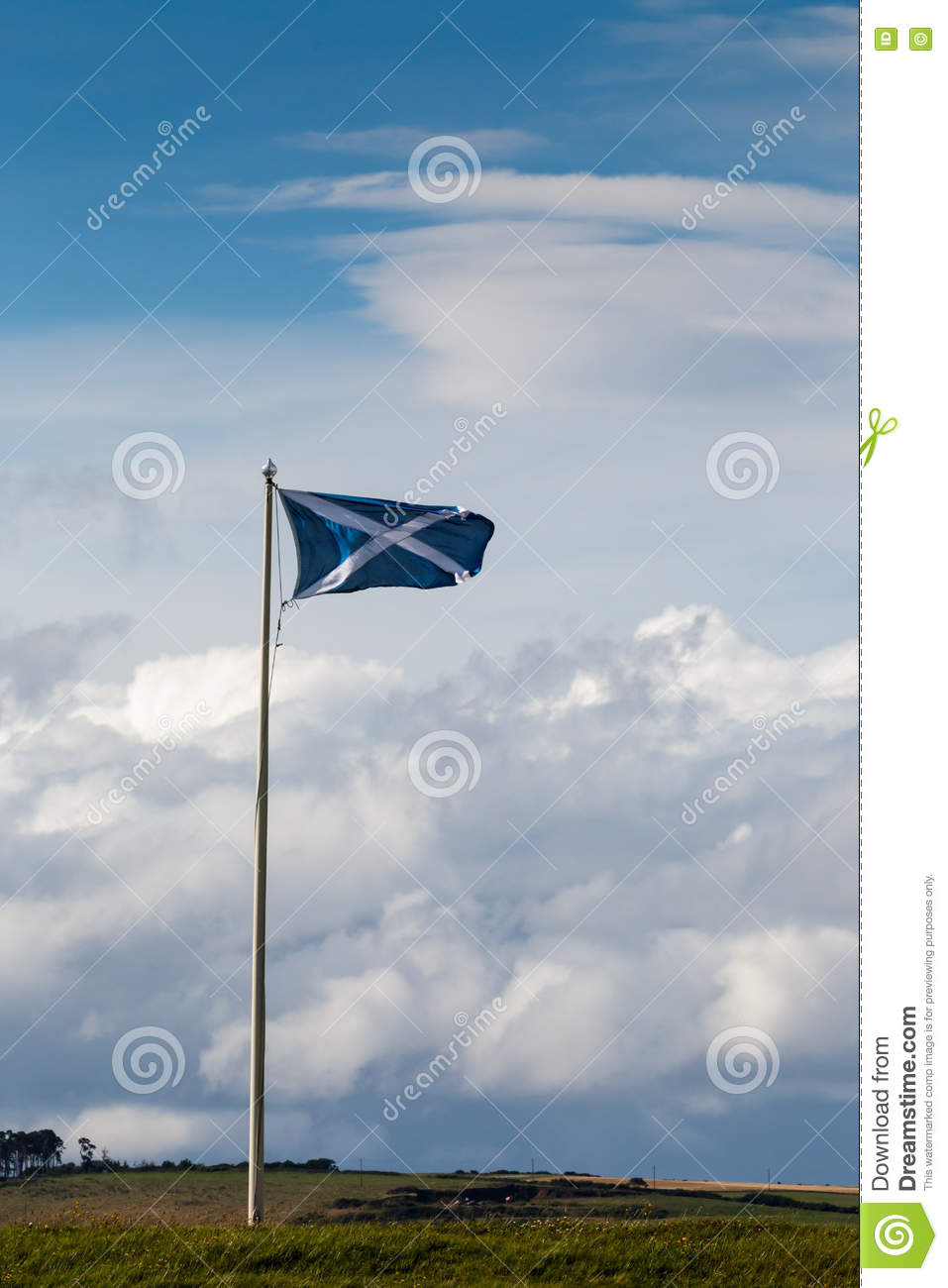 INVERNESS, HIGHLANDS/SCOTLAND - AUGUST 28 : Scottish Flag Flying