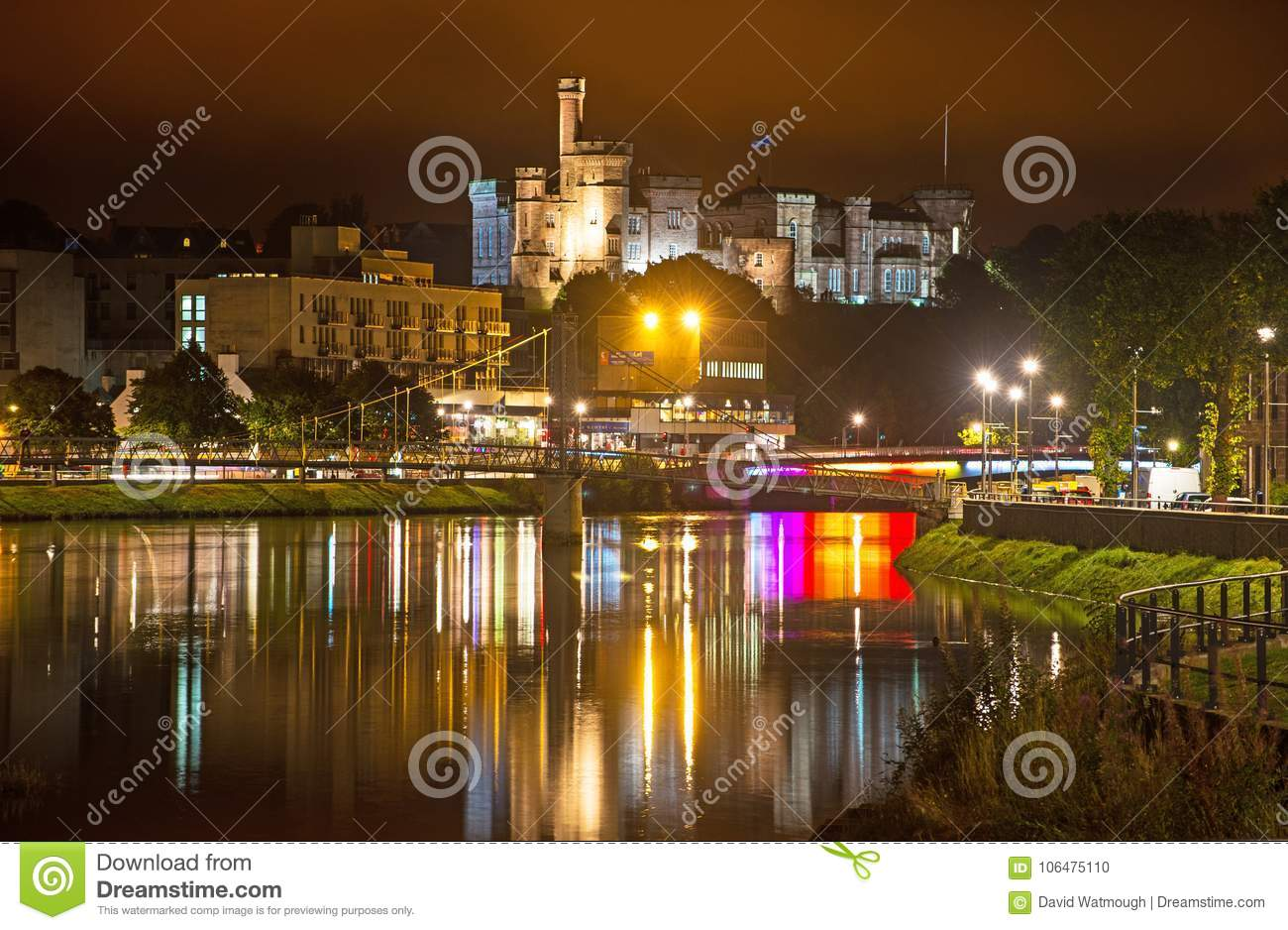 Inverness River Ness and Castle at night