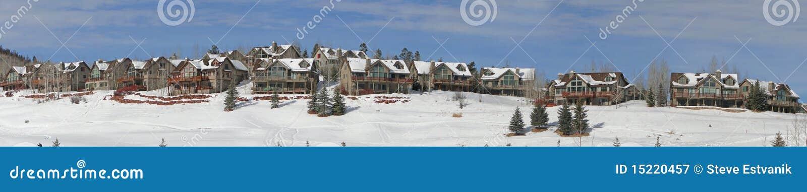 Inverno, as grandes casas negligenciam o campo nevado