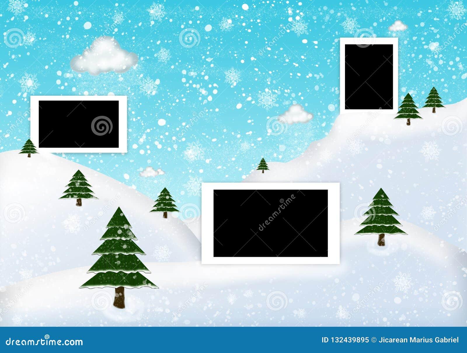 Inverno della struttura della foto con abete e neve