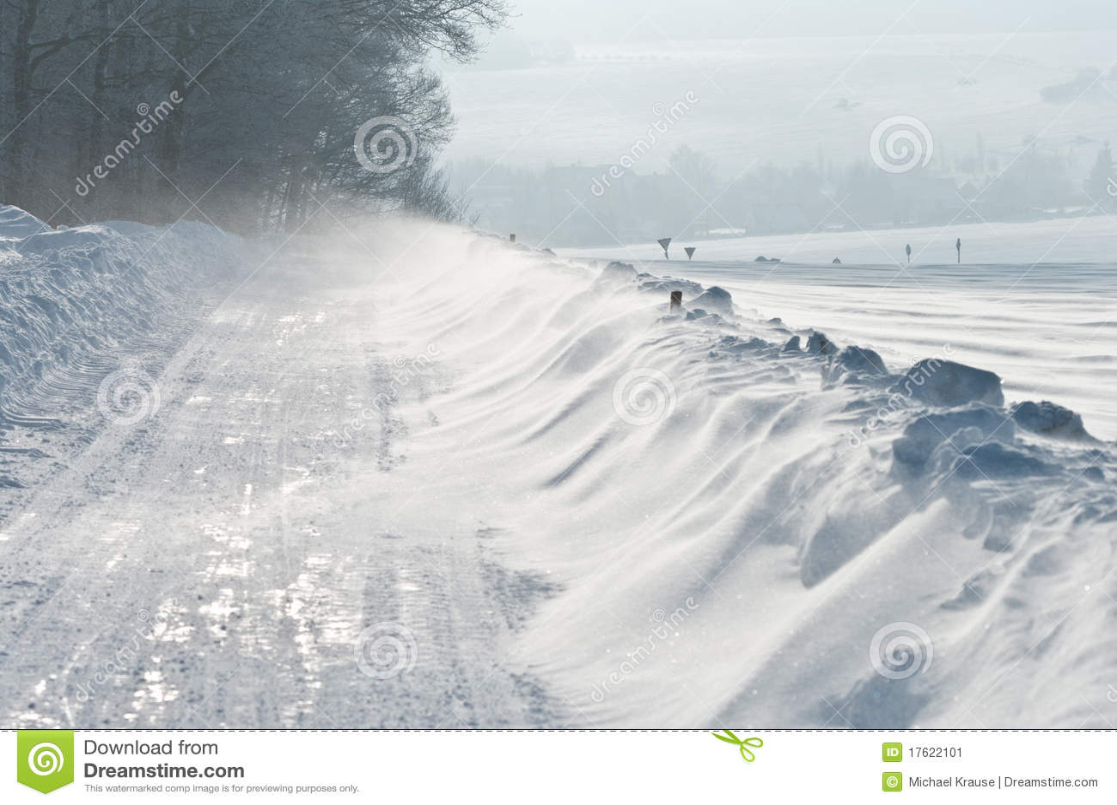 Inverno, estrada, snowdrift