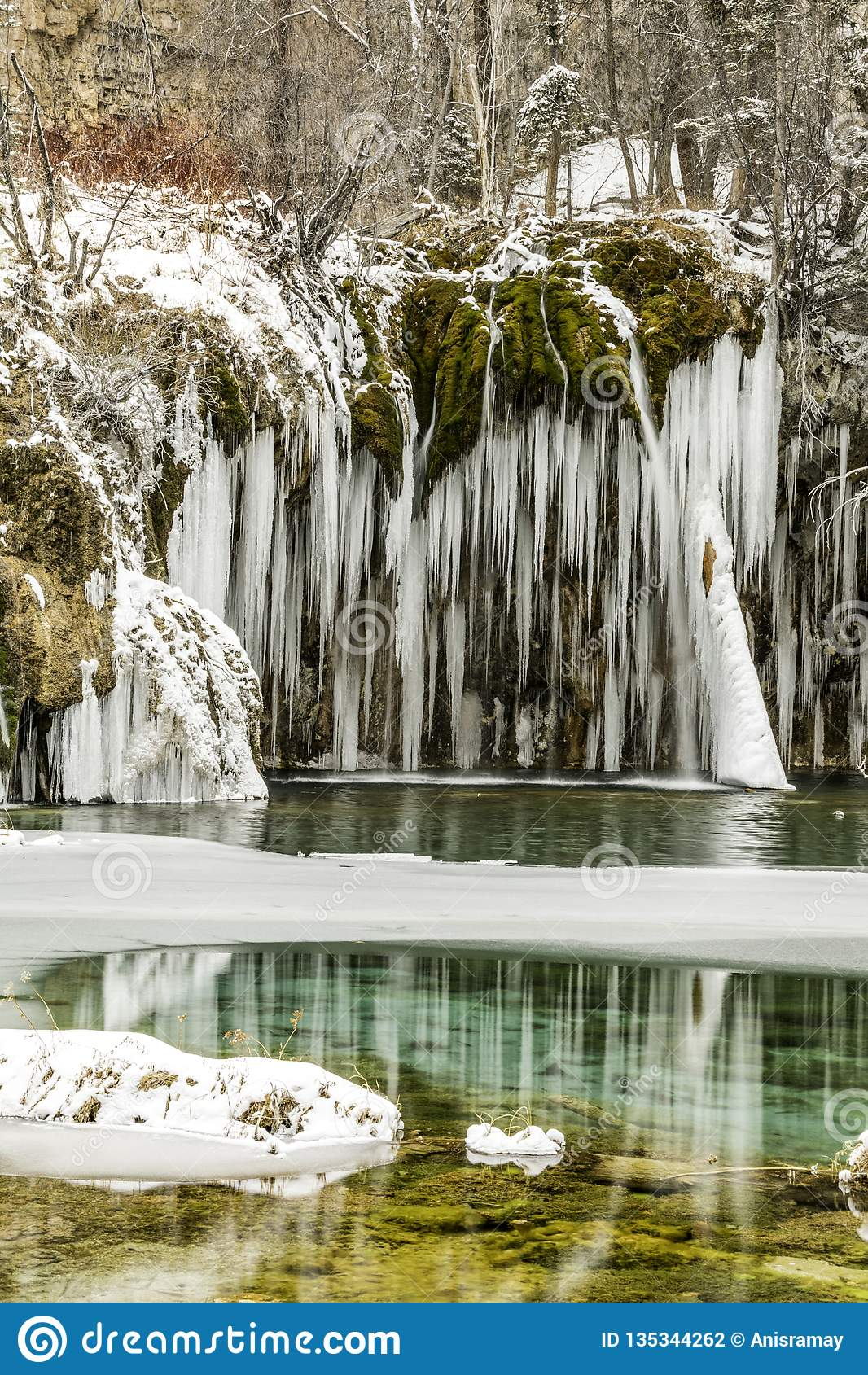 Inverno, neve, frio, lago congelado, Colorado, co, lago escondido