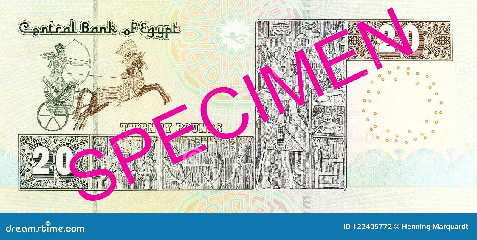Inverse De Billet De Banque De Livre 20 Egyptienne Photo