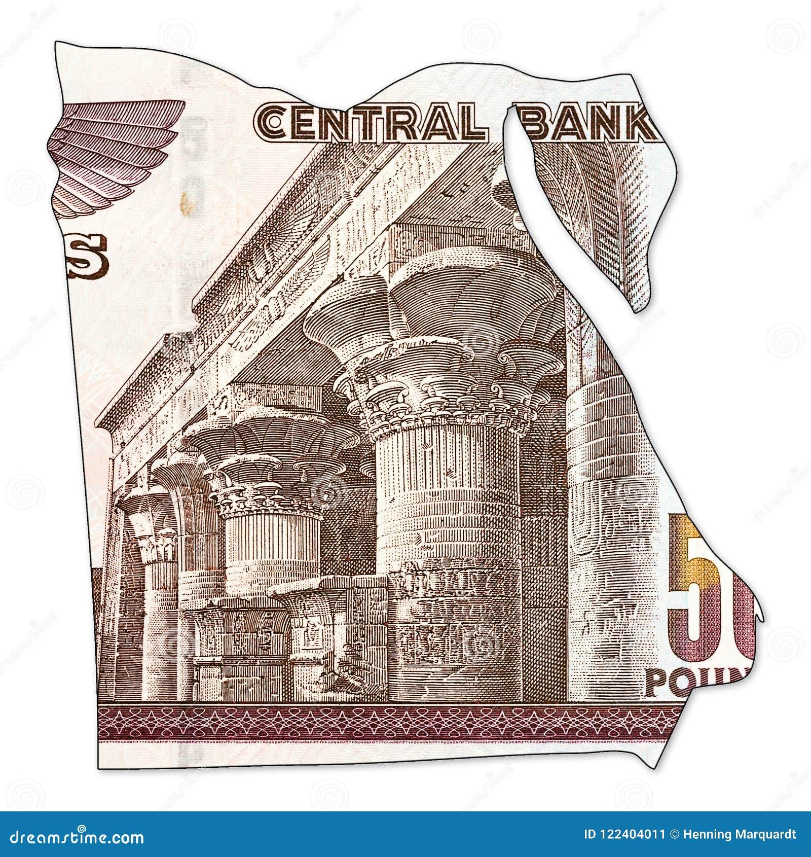 Inverse De Billet De Banque De Livre 50 Egyptienne Dans La