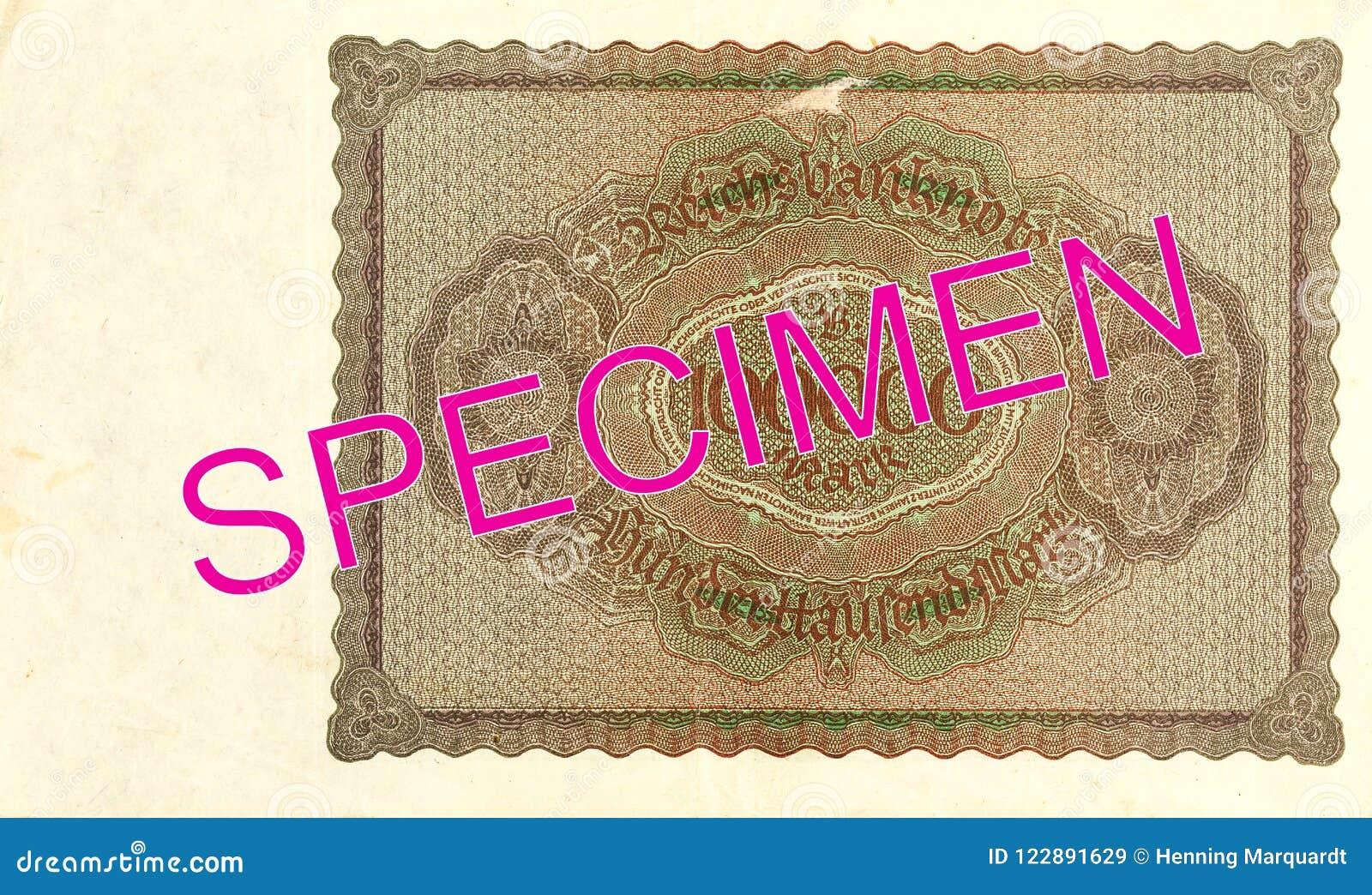 100000 inverse du billet de banque 1923 de mark de royaume