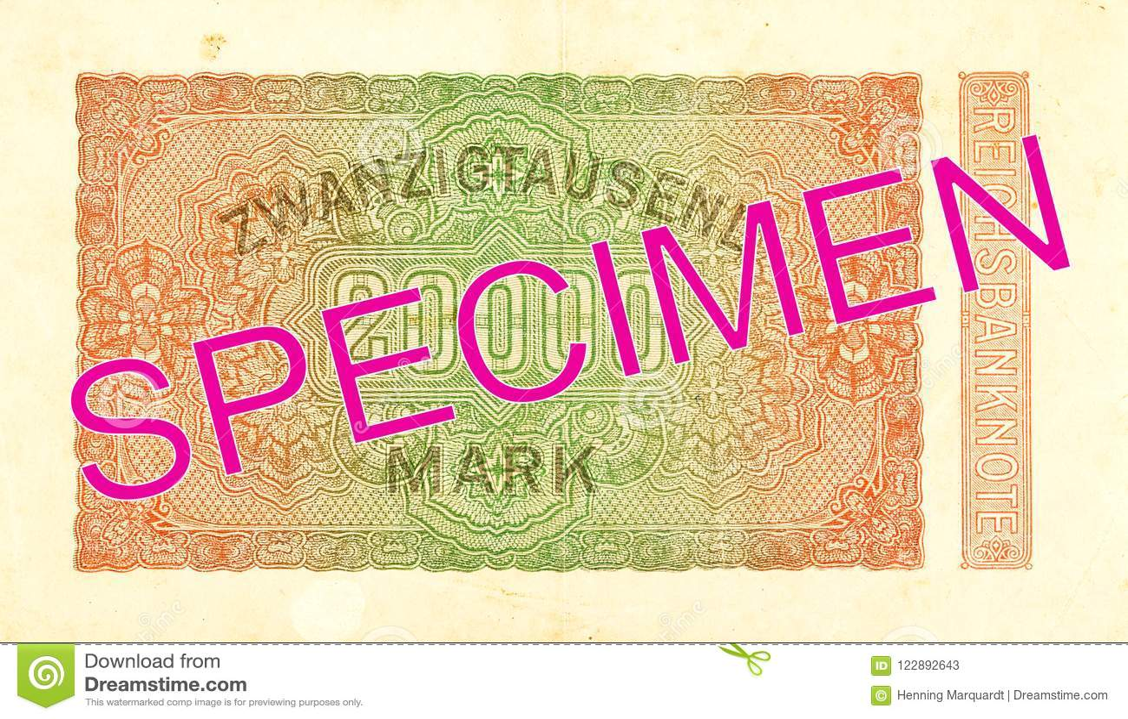 20000 inverse du billet de banque 1923 de mark de royaume