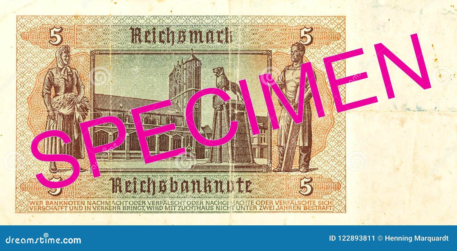 5 inverse du billet de banque 1942 de mark de royaume d Allemand