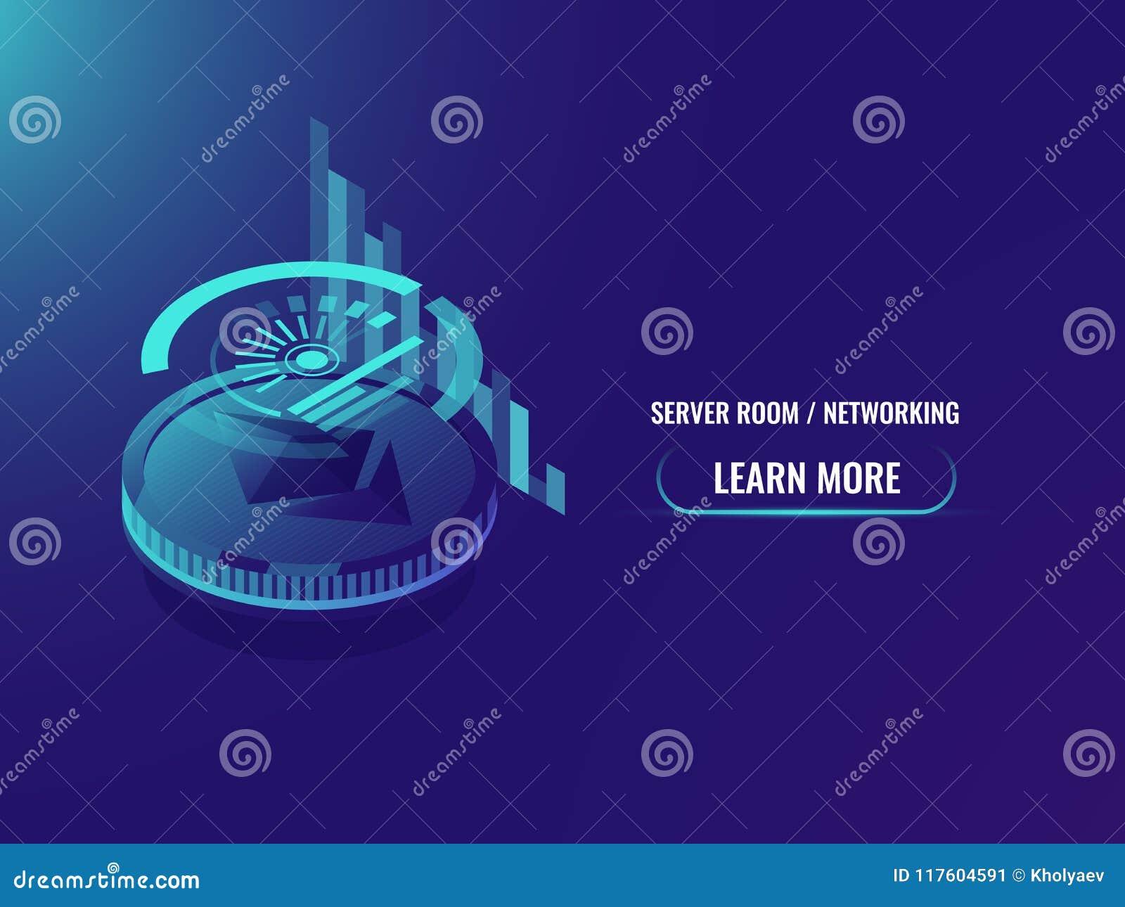 Inversión en cryptocurrency, análisis y estadísticas, horario del ethereum y vector isométrico de la carta