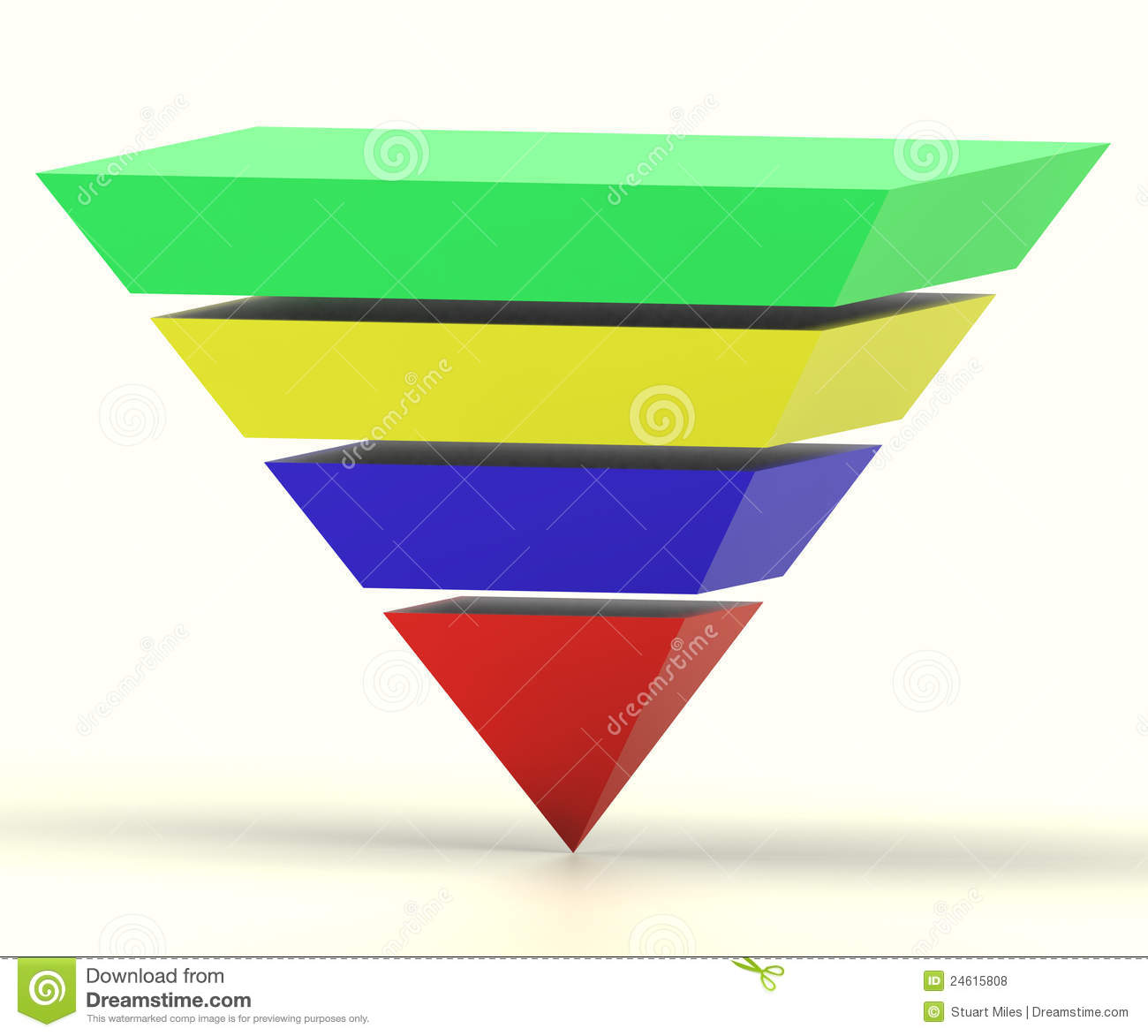 Inverted Pyramid With Segments Shows Hierarchy Royalty Free Stock ...