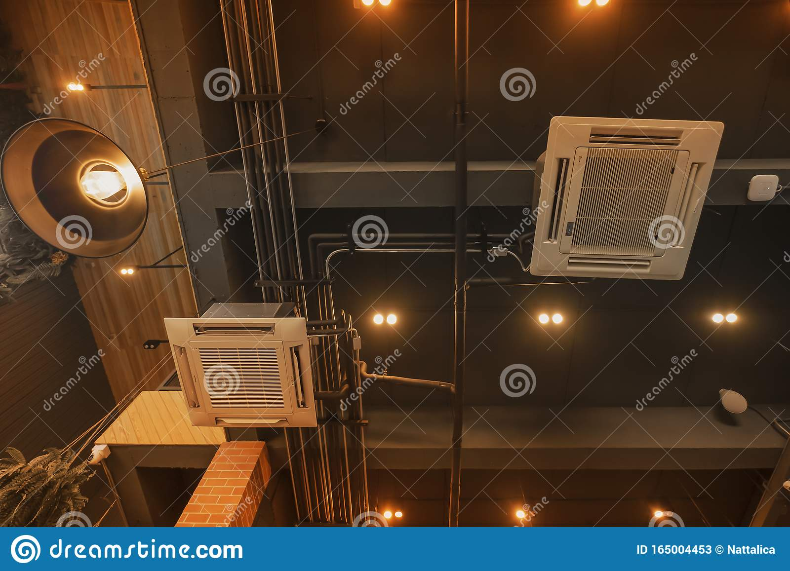 Inverter Air Conditioner Interior Design With Modern Loft Style Of Coffee Shop Stock Image Image Of Coffee Condition 165004453