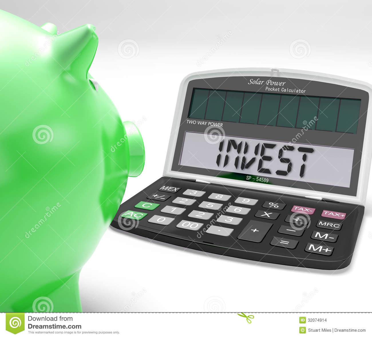 Invest and calculate the stock market stock photo image of.