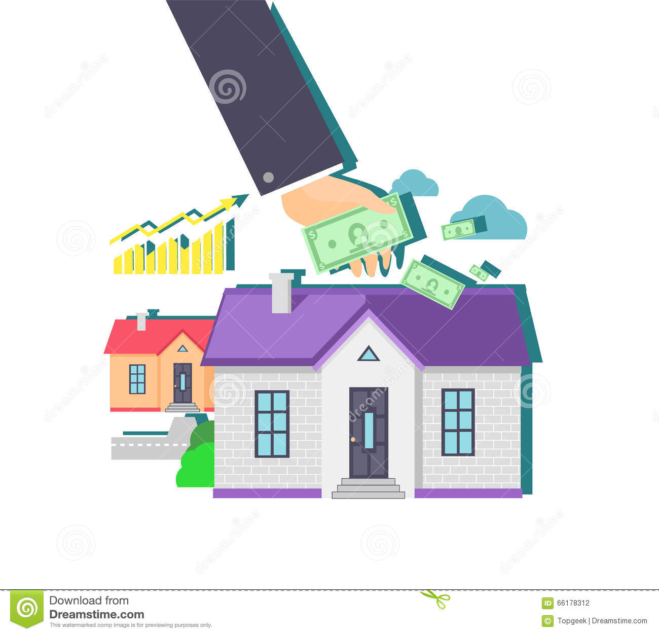 Invest In Real Estate Icon Flat Design Stock Vector