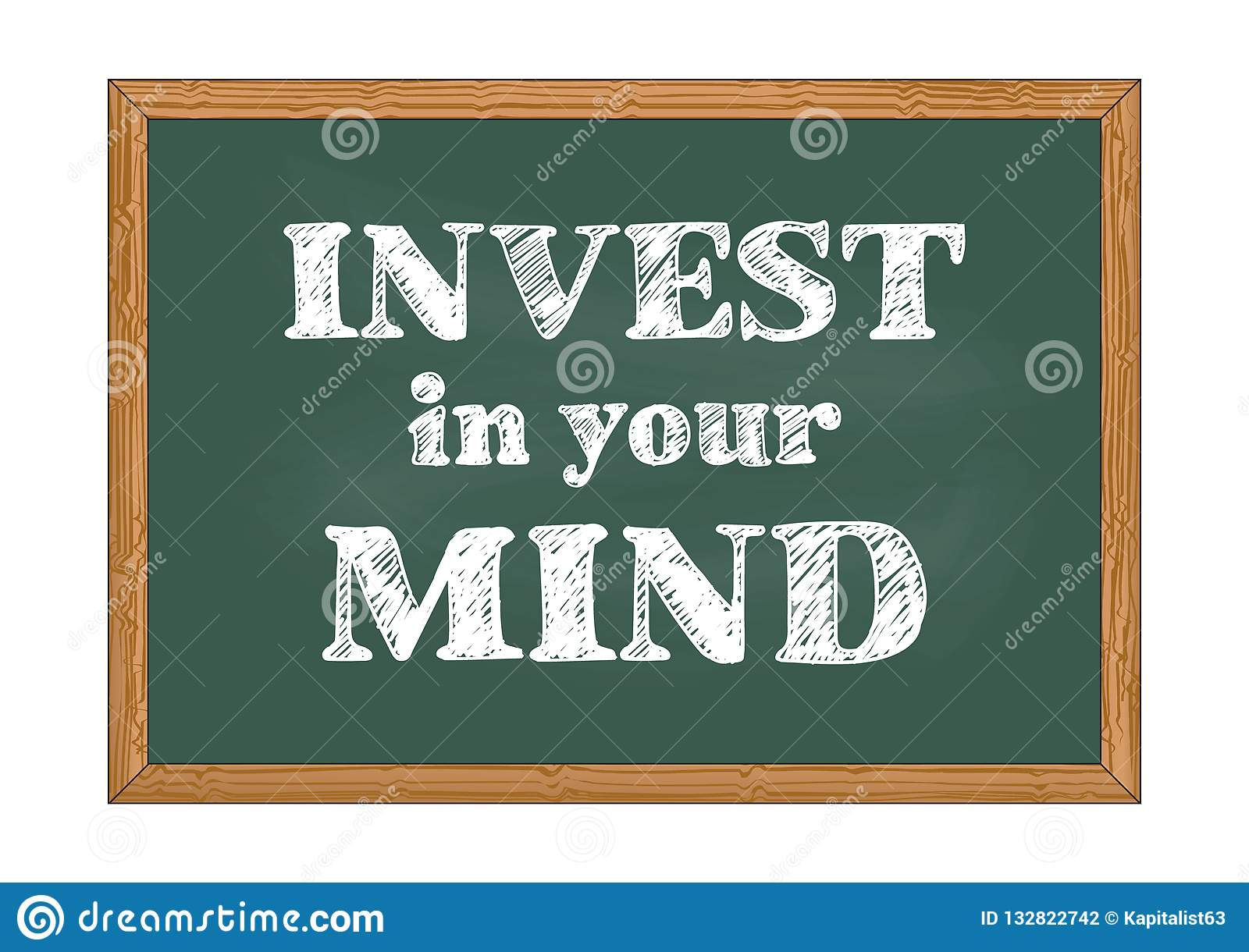 Invest in your mind chalkboard notice Vector illustration