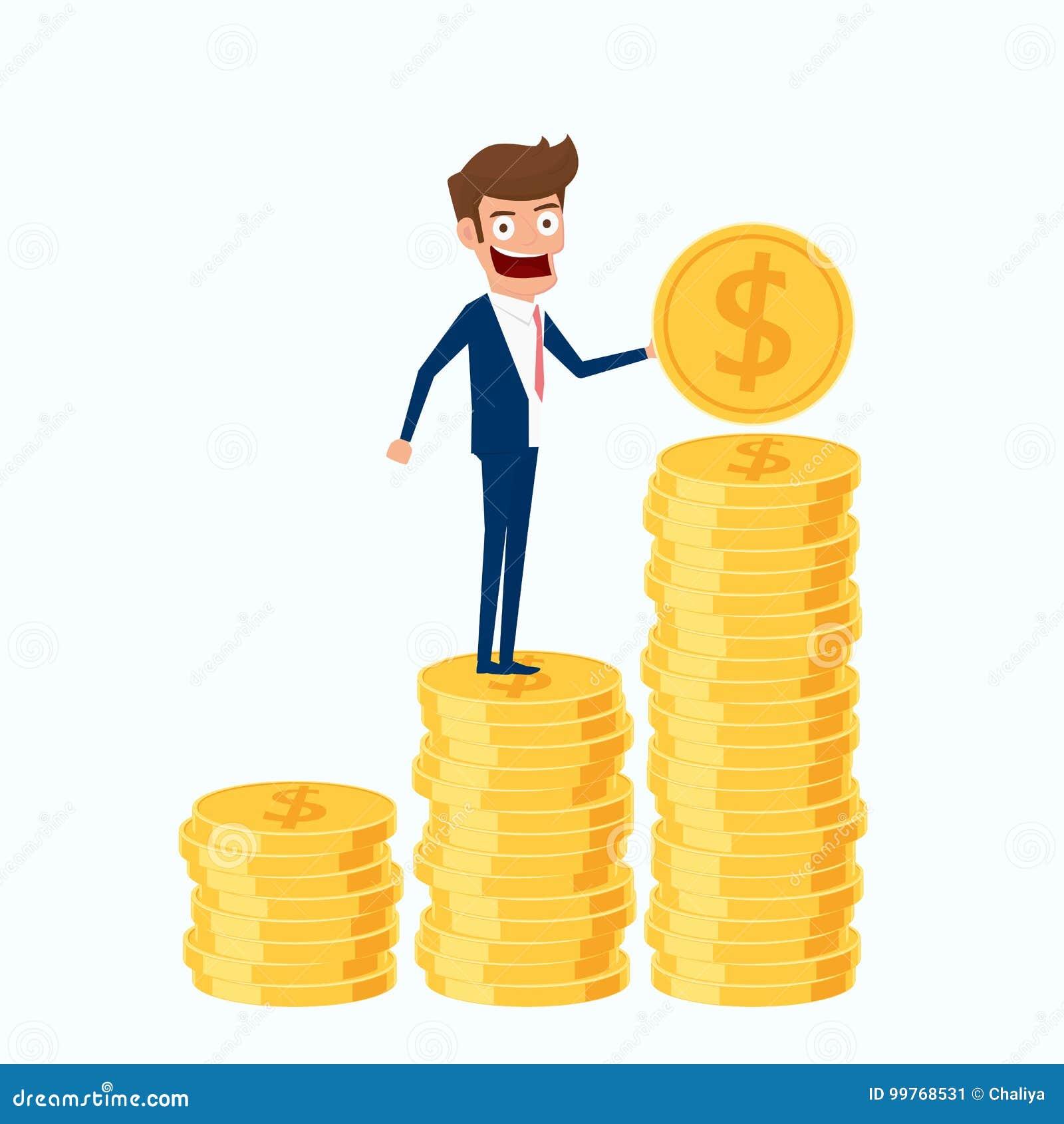 Investering en besparingsconcept Het gouden muntstuk van de zakenmanholding en het aanbrengen van de stapel