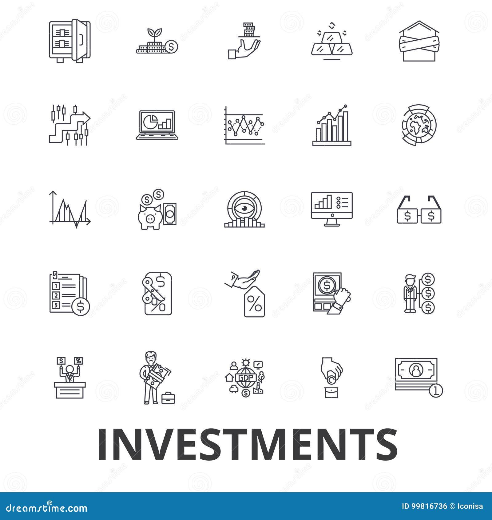 Investering, financiën, geld, investeerder, effectenbeurs, besparingen, zaken, de pictogrammen van de banklijn Editableslagen Vla