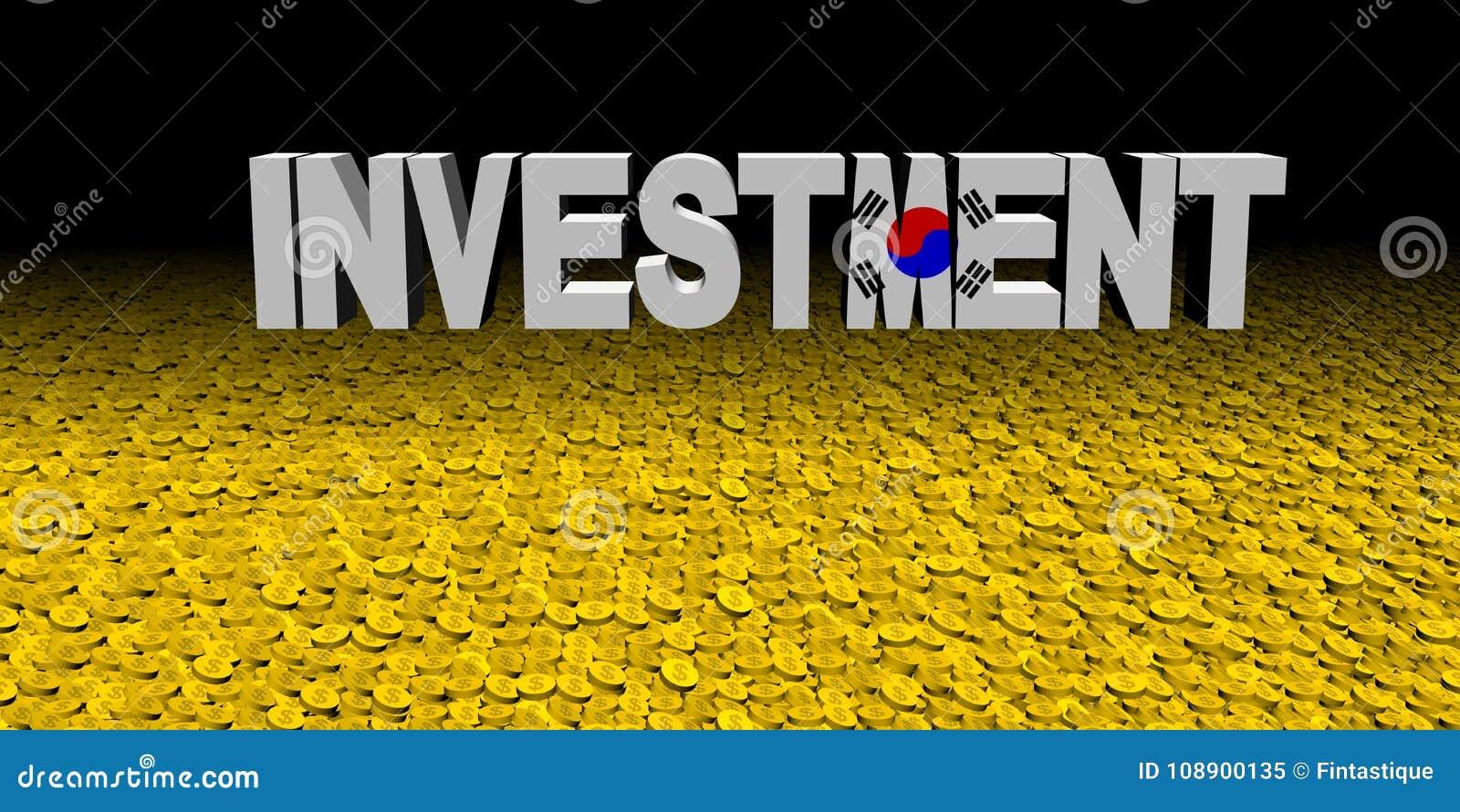 Investeringstekst met Koreaanse vlag met muntstukkenillustratie