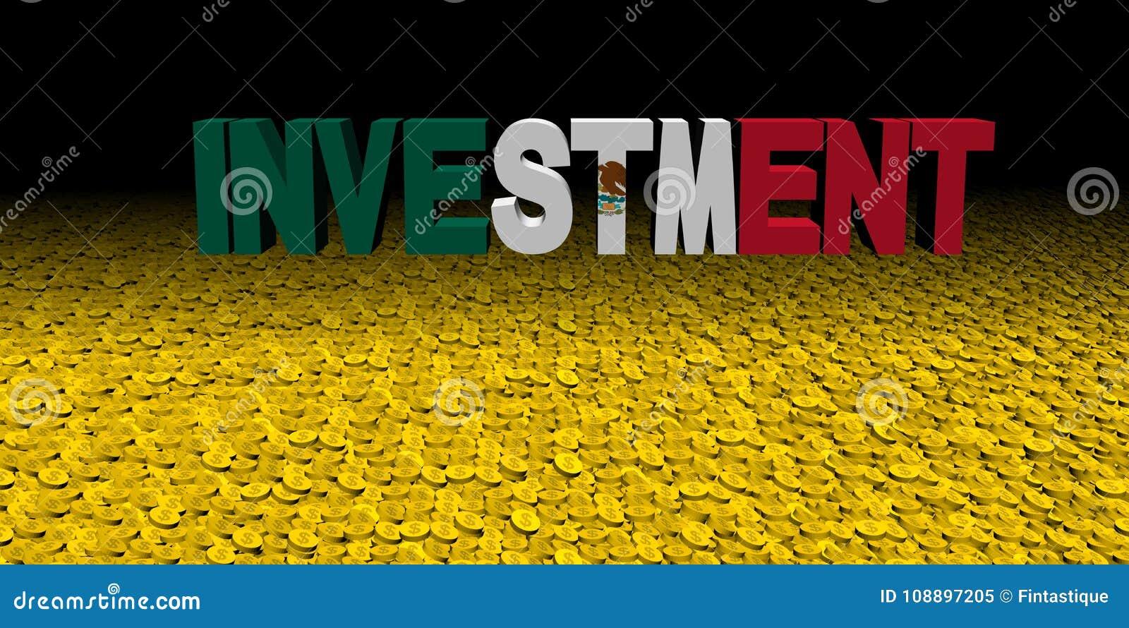 Investeringstekst met Mexicaanse vlag op muntstukkenillustratie
