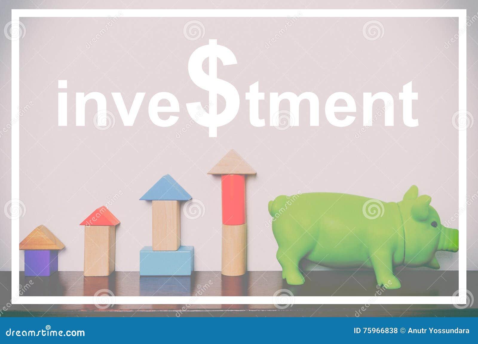 Investeringtext med grafen och spargrisen för leksakkvarterresning