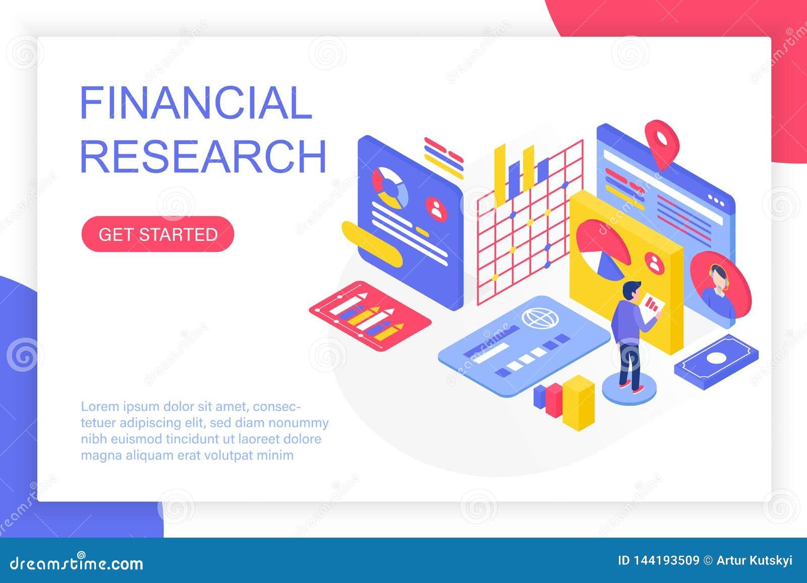 Investigación de gestión financiera, solución del negocio, ejemplo isométrico del vector del análisis de inversión de las finanza