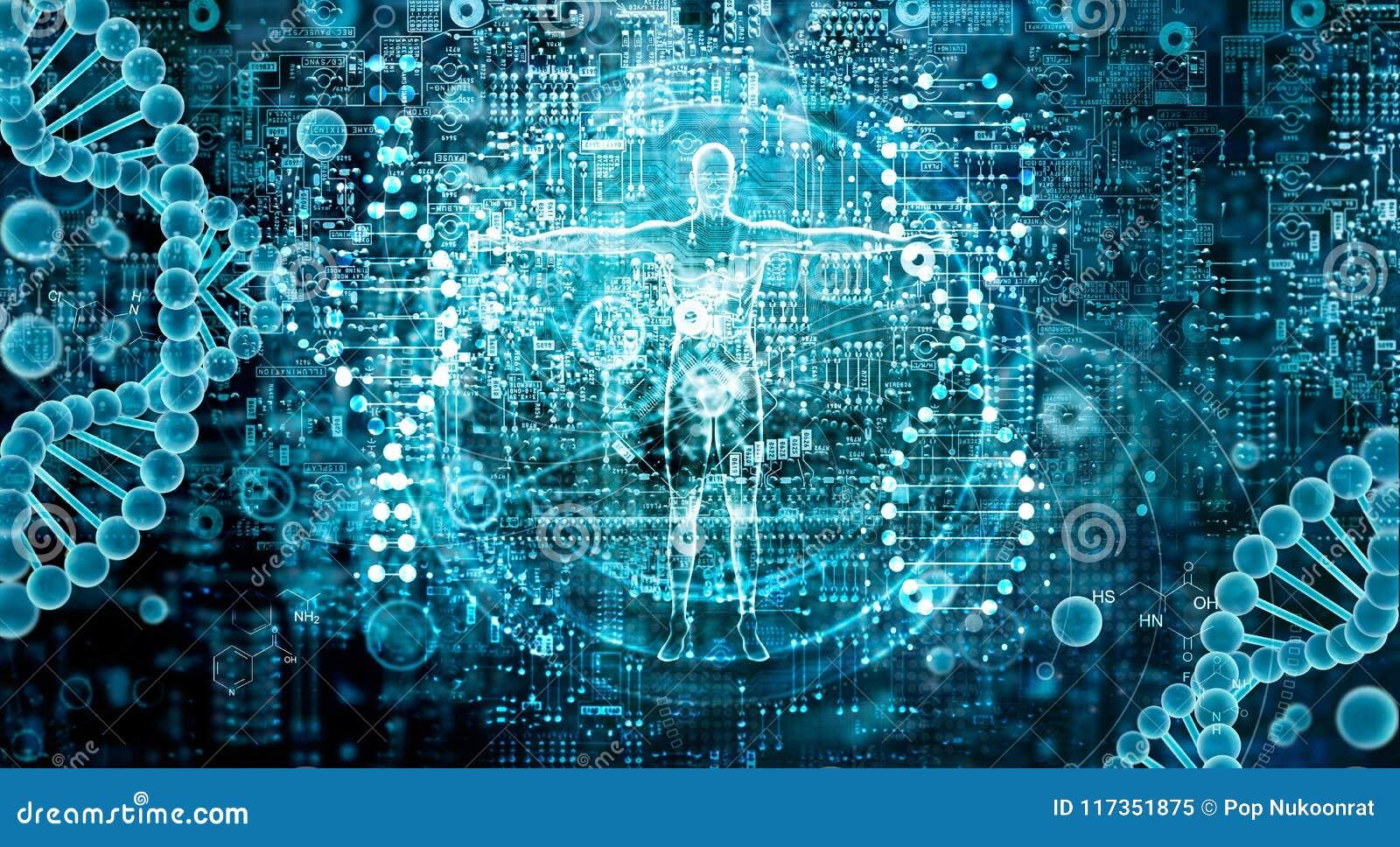 Investigación genética y concepto de la ciencia de Biotech Tecnología de la biología humana