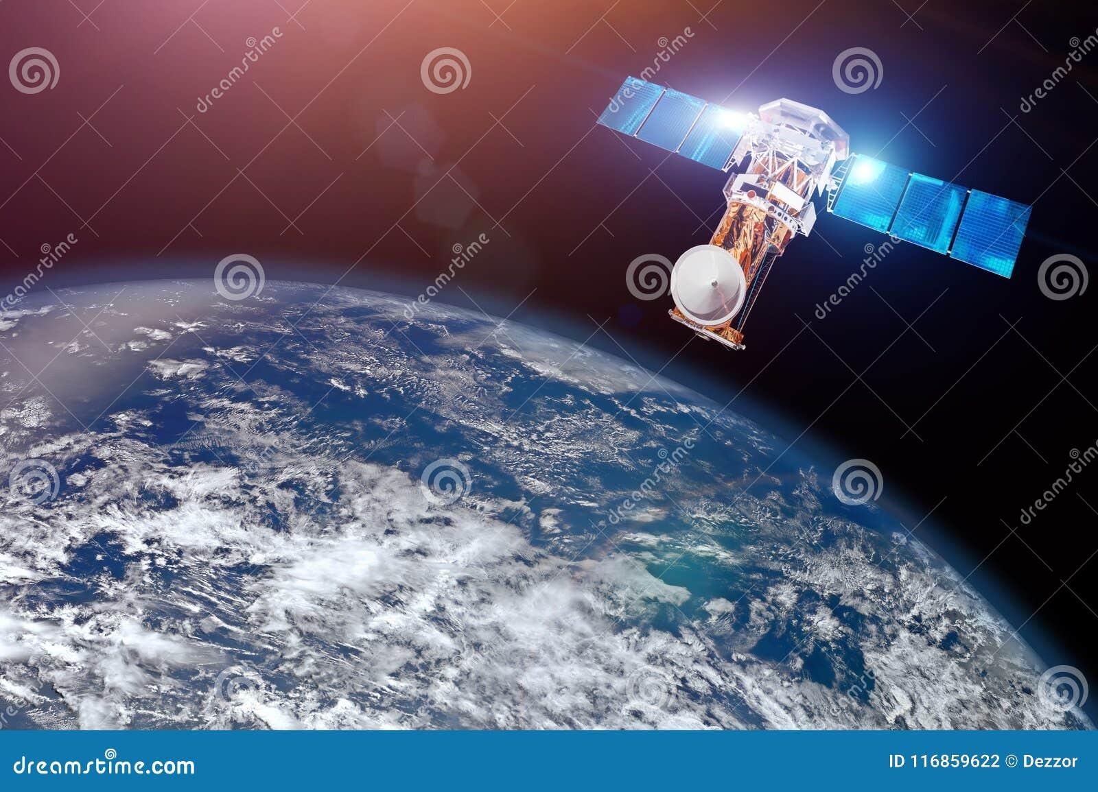 Investigación, sondando, supervisión en de la atmósfera El satélite sobre la tierra hace las medidas de los parámetros del tiempo