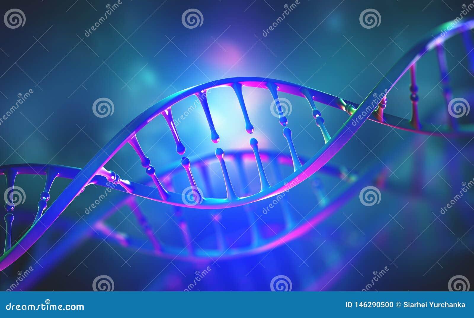 Investigaci?n del genoma de la DNA Luz de ne?n brillante Estructura de la mol?cula de la DNA