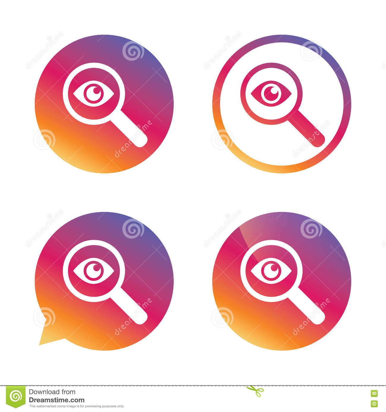 Investigate Icon Magnifying Glass With Eye Stock Vector