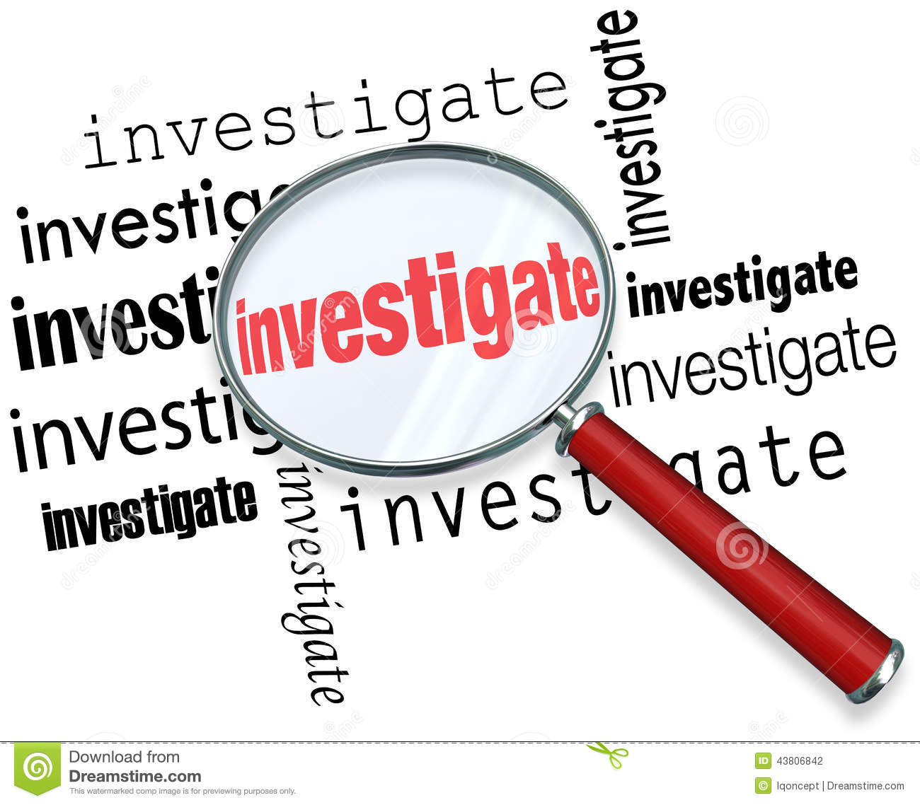 Magnfiying glass on the word investigate to illustrate detective or ...