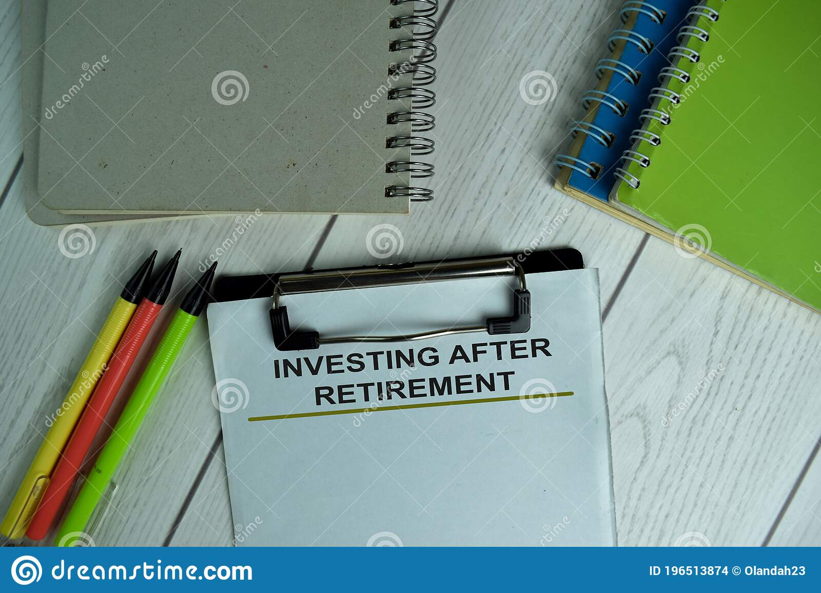 Investing After Retirement Write On A Paperwork Isolated On Wooden Table Stock Photo Image Of Bank Elderly 196513874