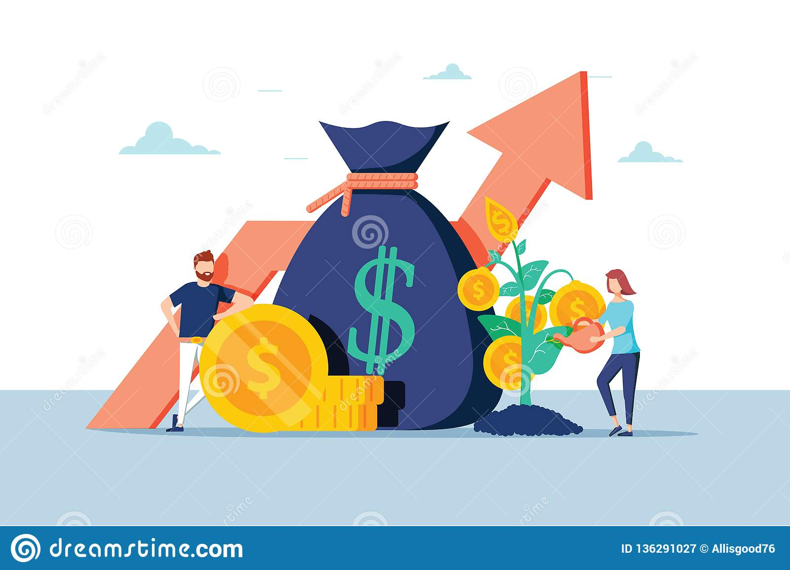 Investment Financial Business People Increasing Capital and Profits. Wealth and Savings with Characters. Earnings Money