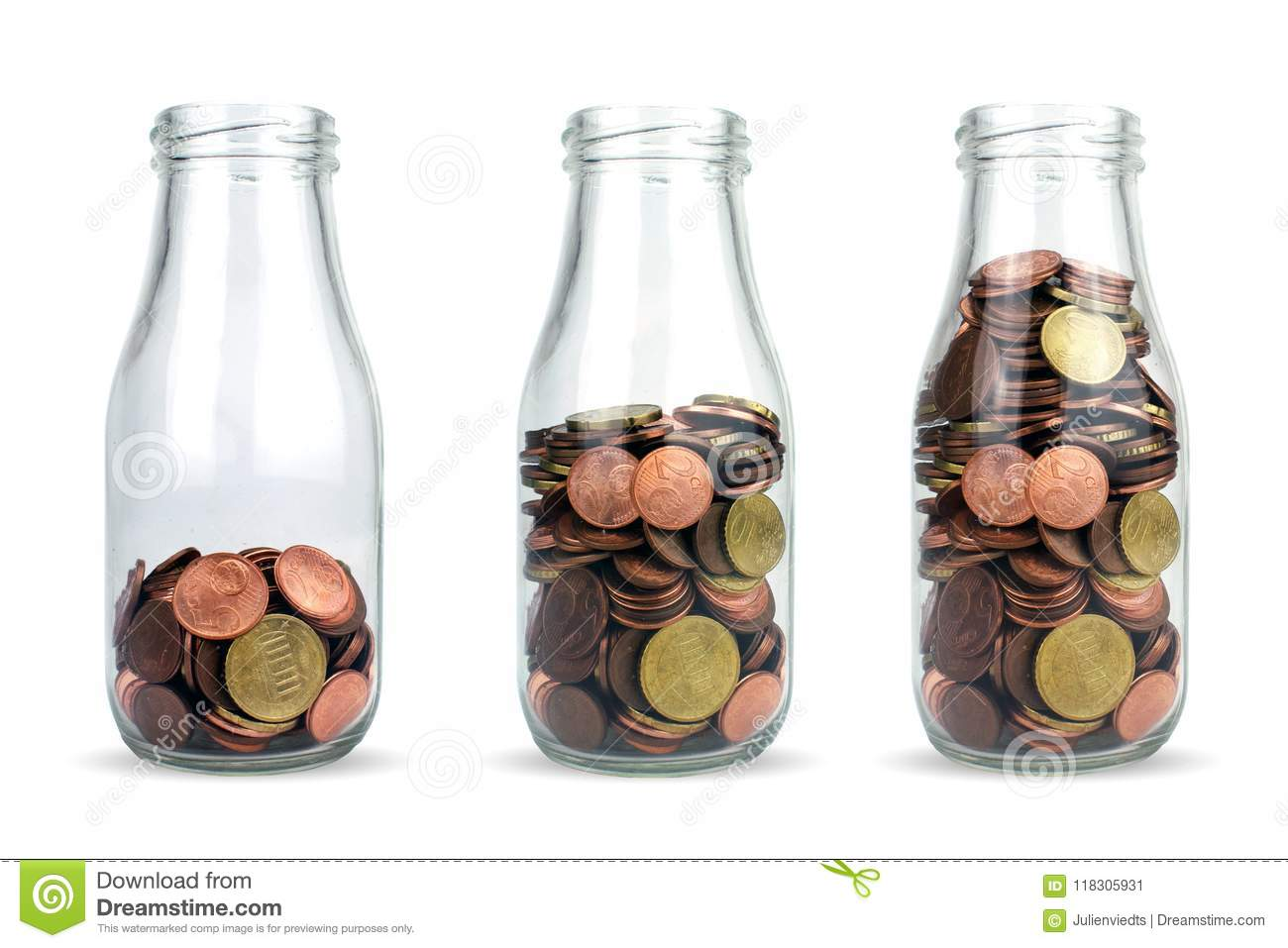Investment in the future. Glass bottles with euro coins like diagram isolated.