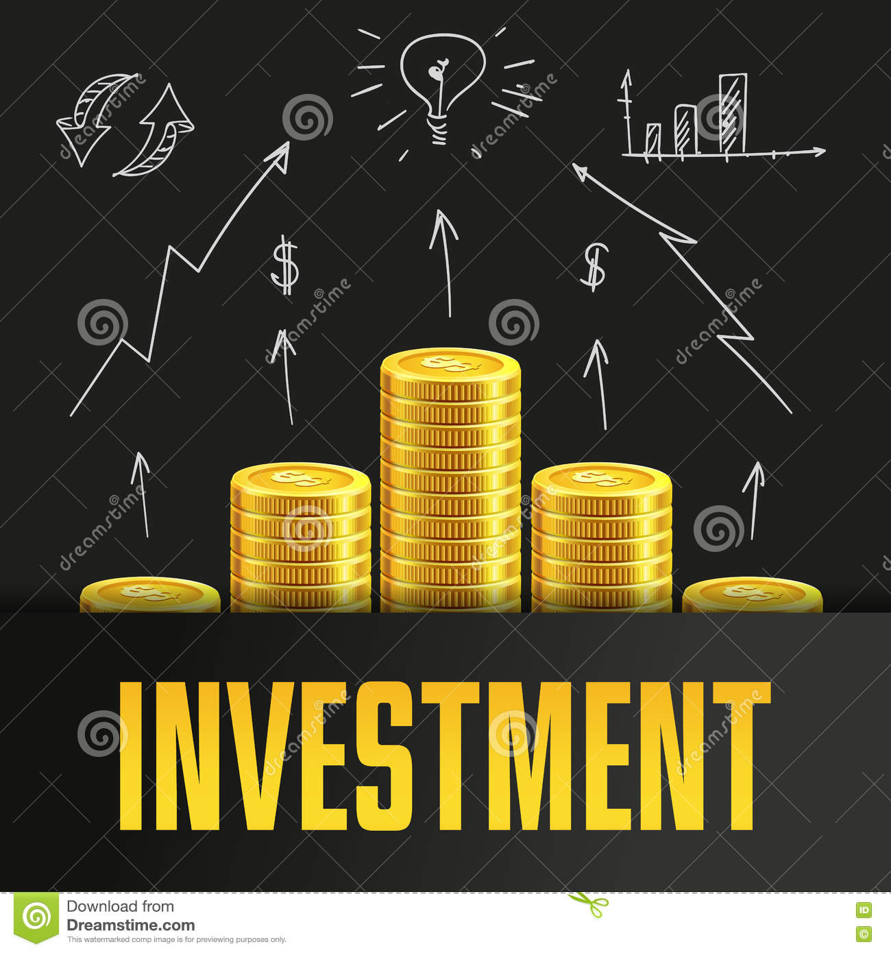 investment poster or banner design template with golden coins  stock vector
