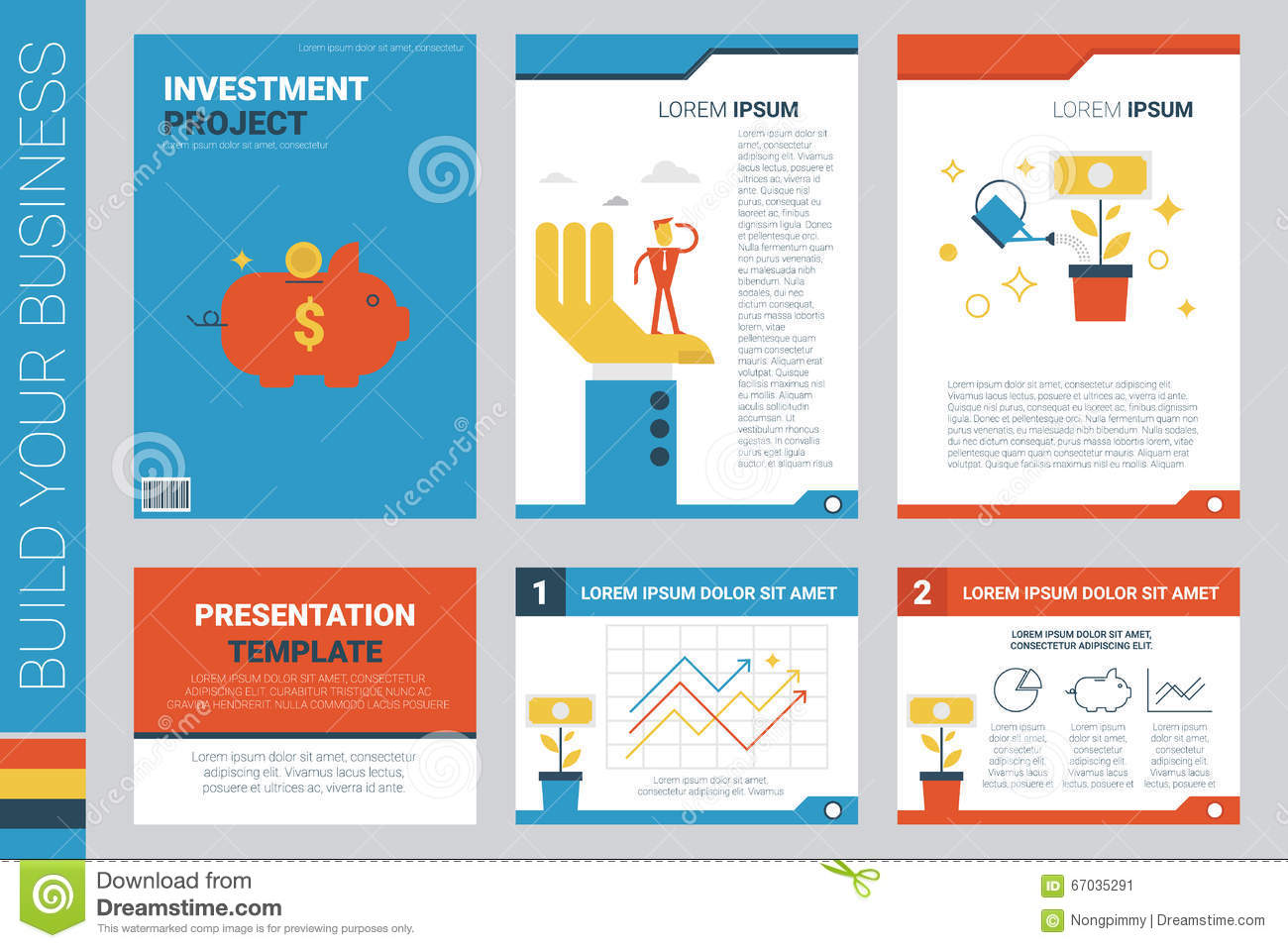 investment project book cover and presentation template stock, Powerpoint templates