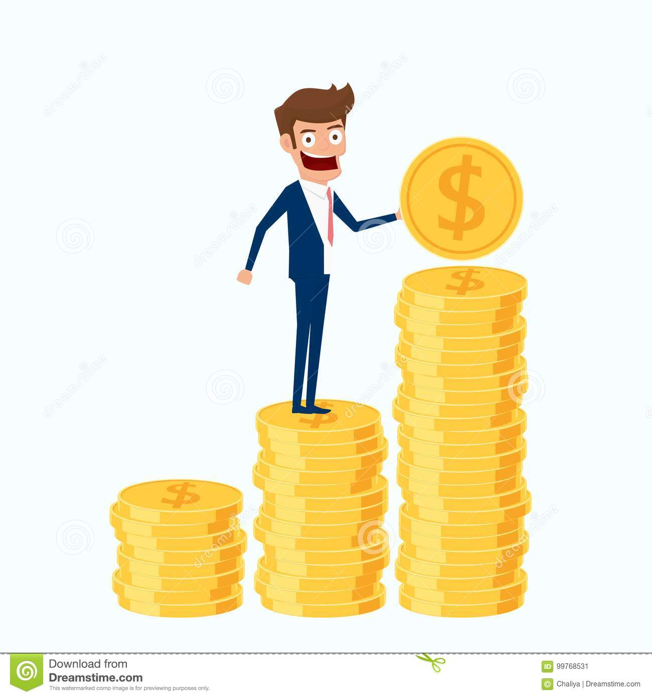 Investment and saving concept. Businessman holding gold coin and putting in the pile.