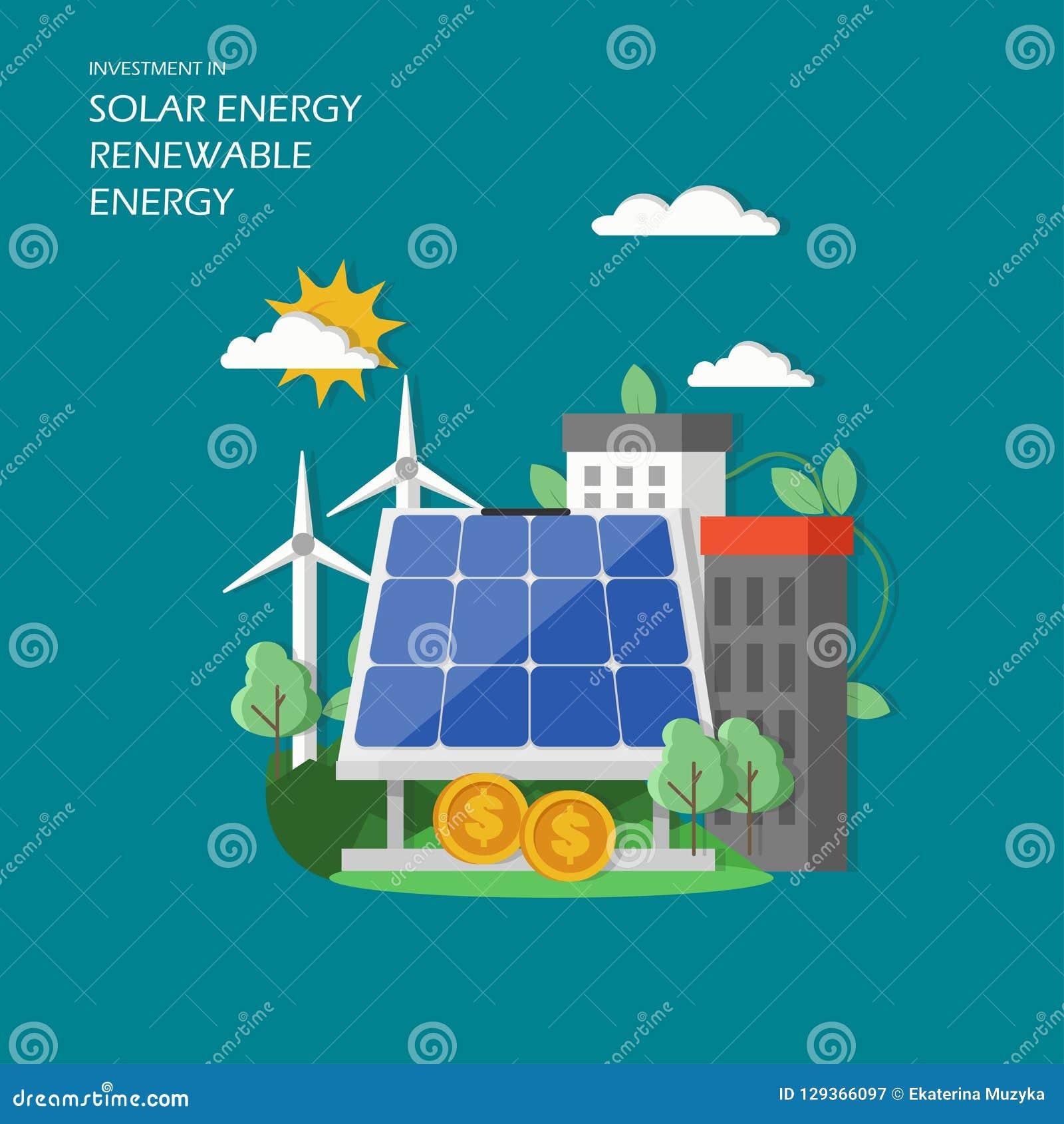 Investment In Solar Renewable Energy Vector Illustration