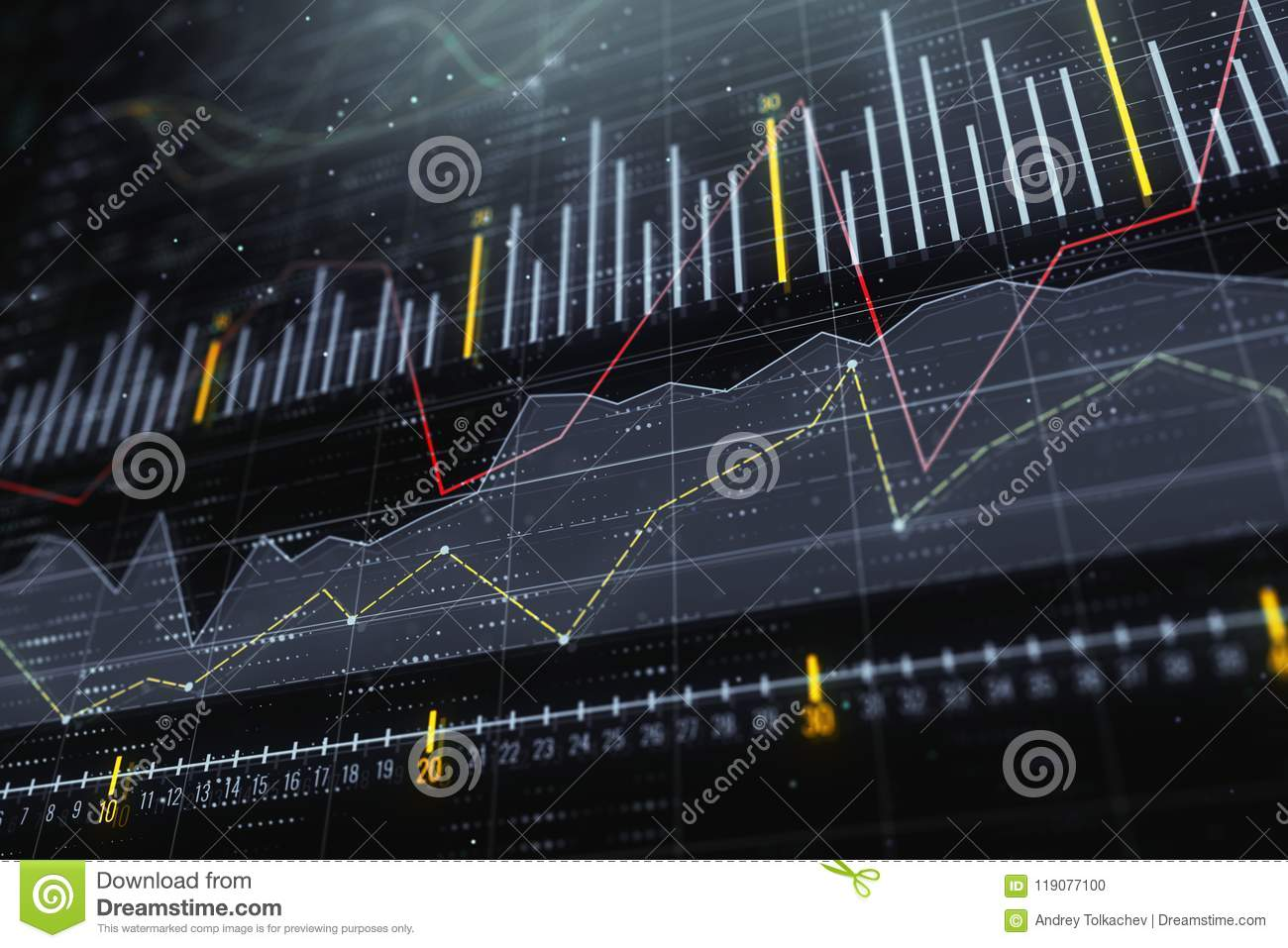 Investment, trade and monitor concept